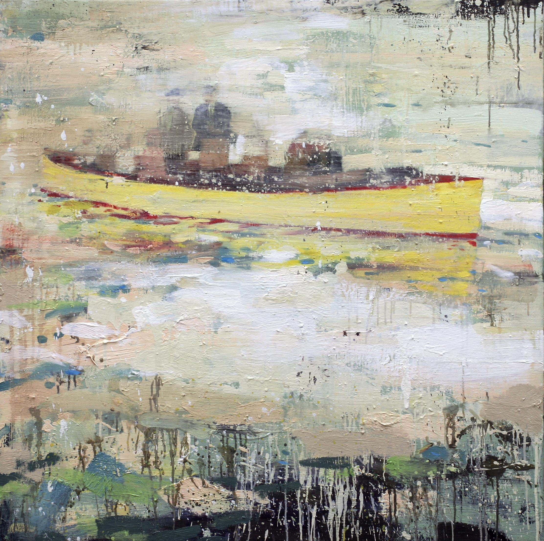 Søndag i den gule båten | 115x115 cm | Eggoljetempera på lerret | Privat eie