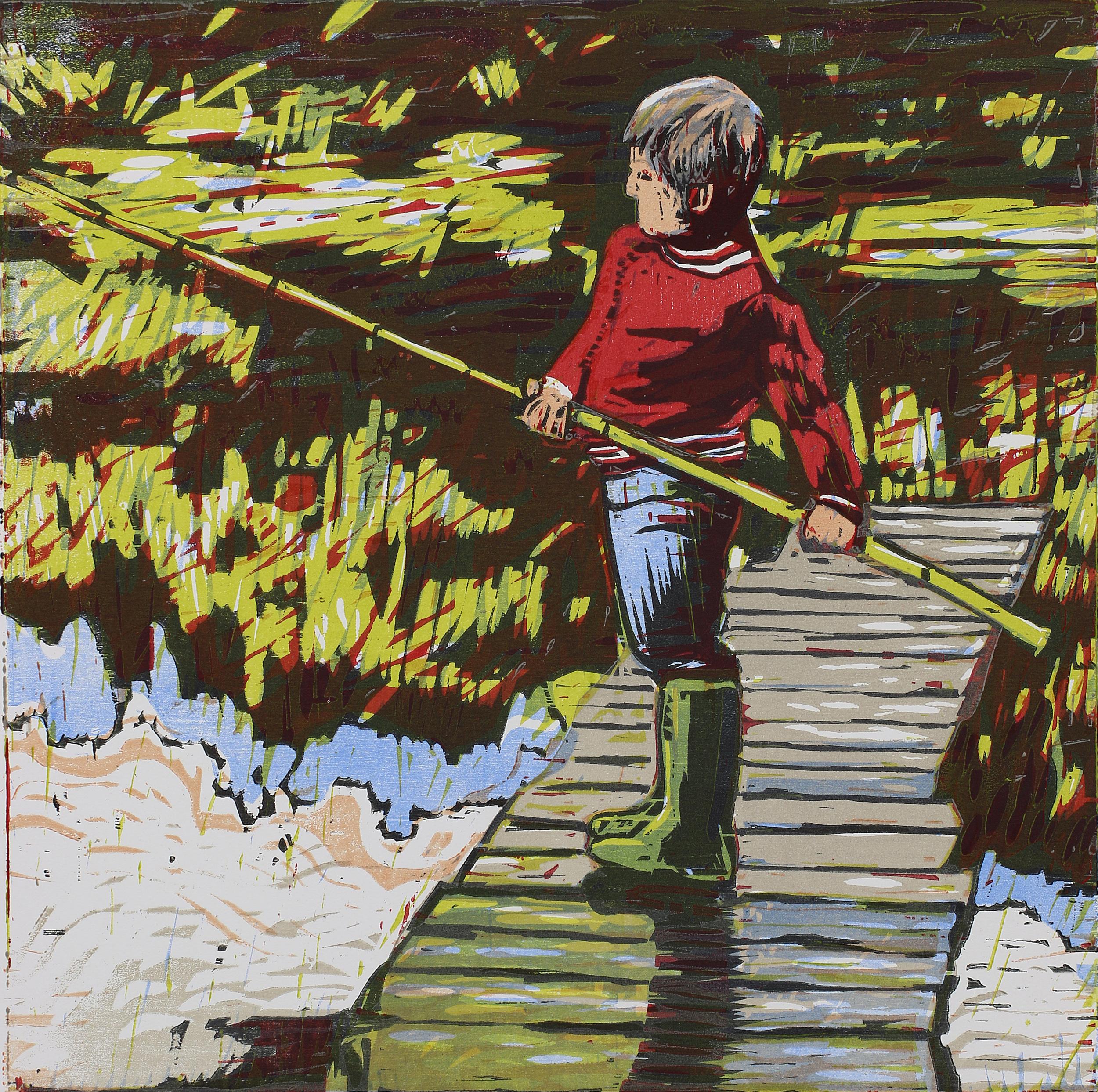 Gutt med bambus | Tresnitt | 45x45 cm | kr. 3 500,-