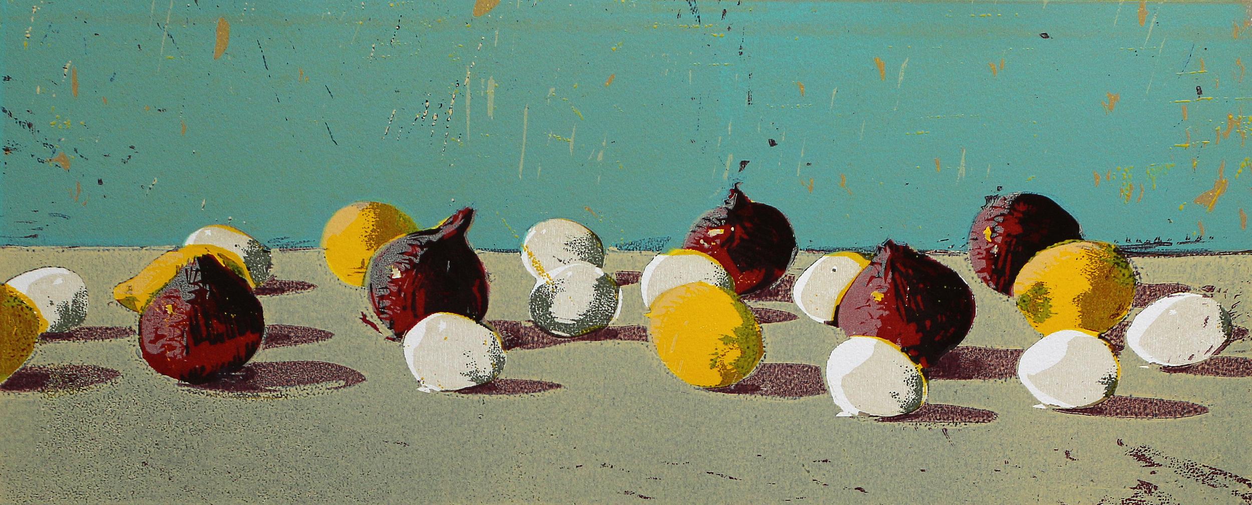 Rødløk, egg og sitroner | Tresnitt | 25x60 cm | kr. 3 000,-