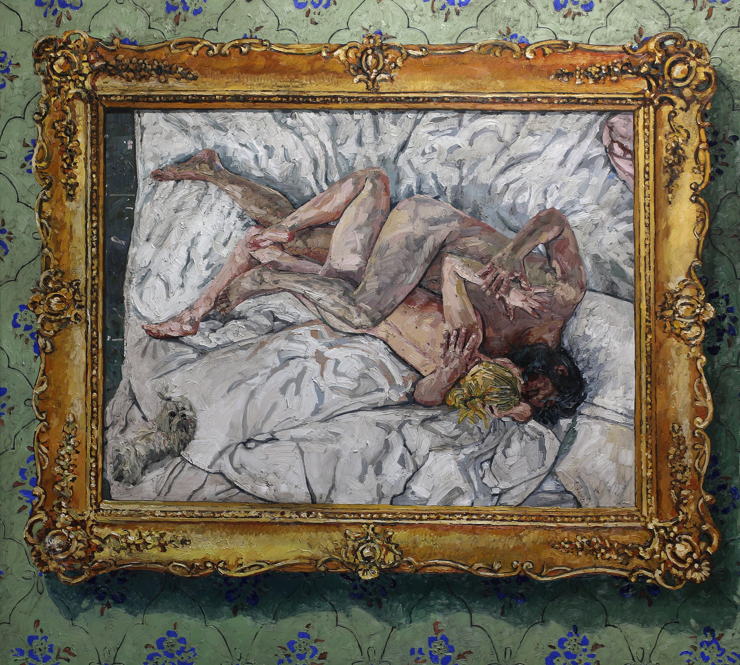 Maleriets opprinnelse   190x210 cm   Olje på lerret   Privat eie
