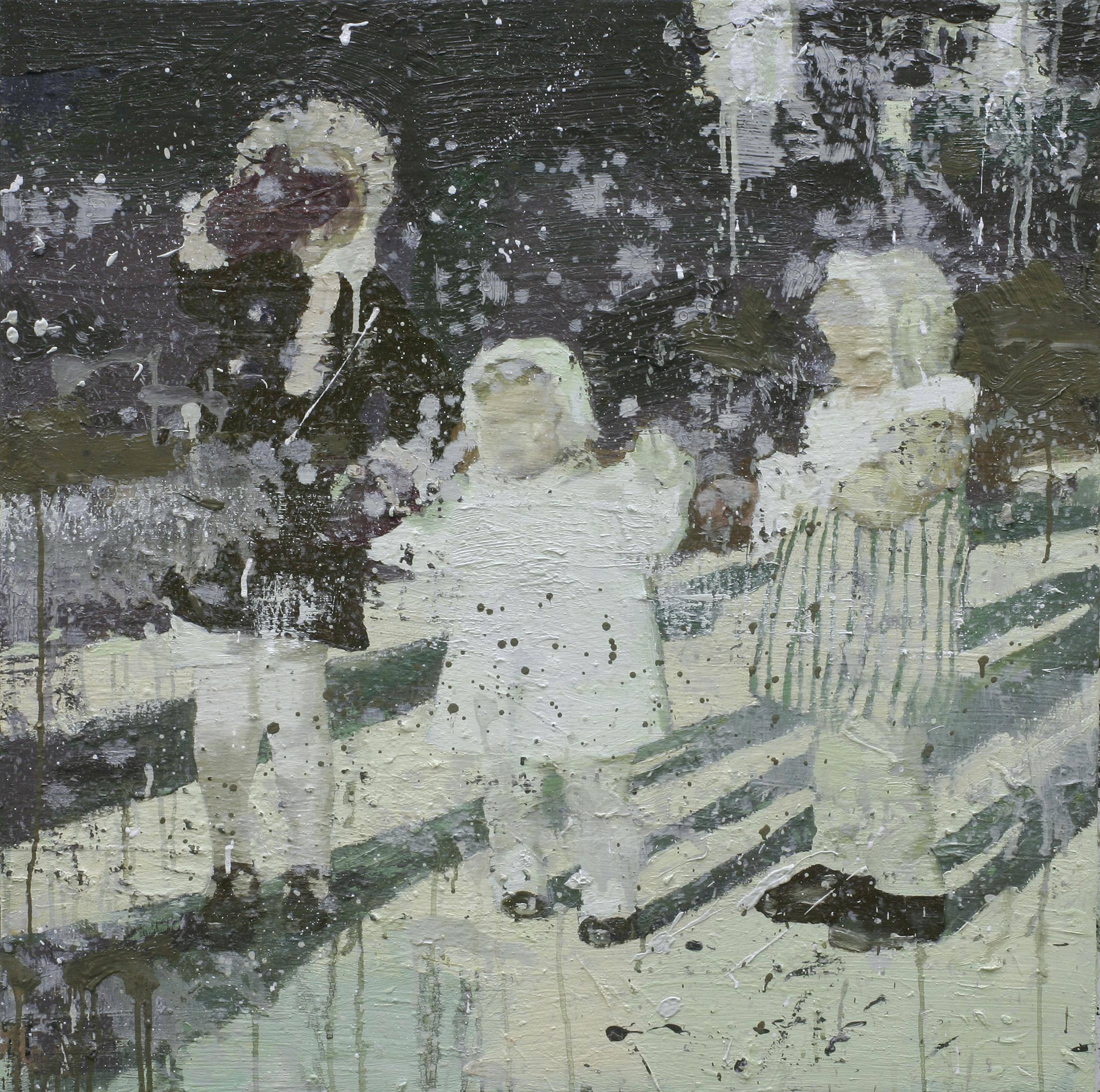 Første minne om snø | 60x60 cm | Eggoljetempera på lerret | Privat eie