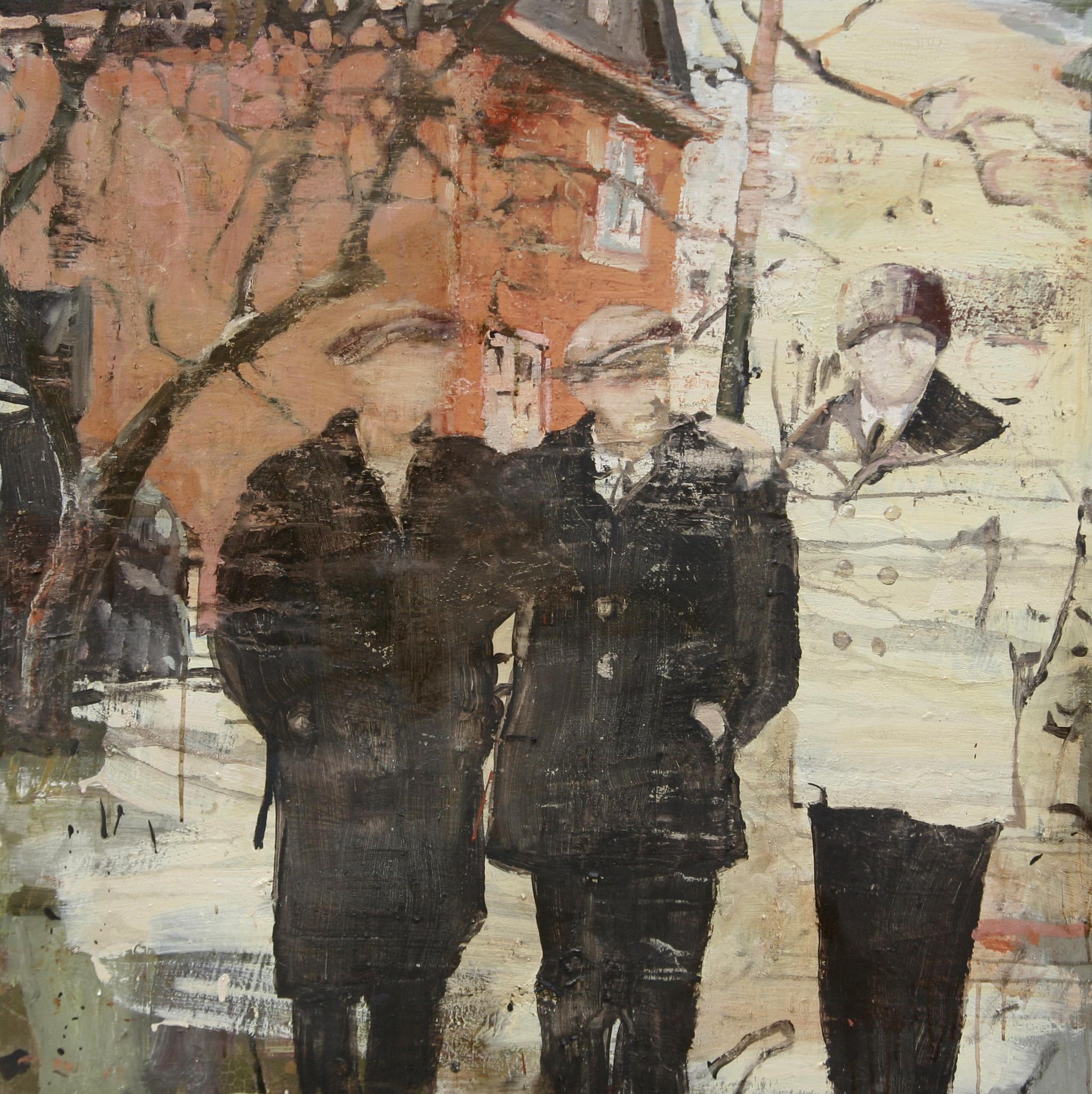 Asbjørn, Hans og Ragnar | 100x100 cm | Eggoljetempera på lerret | Privat eie