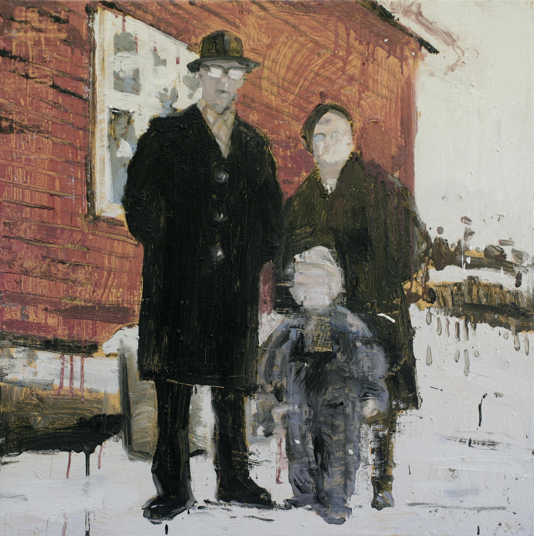 Bestemor, bestefar og jeg | 80x80 cm | Eggoljetempera på lerret | Privat eie