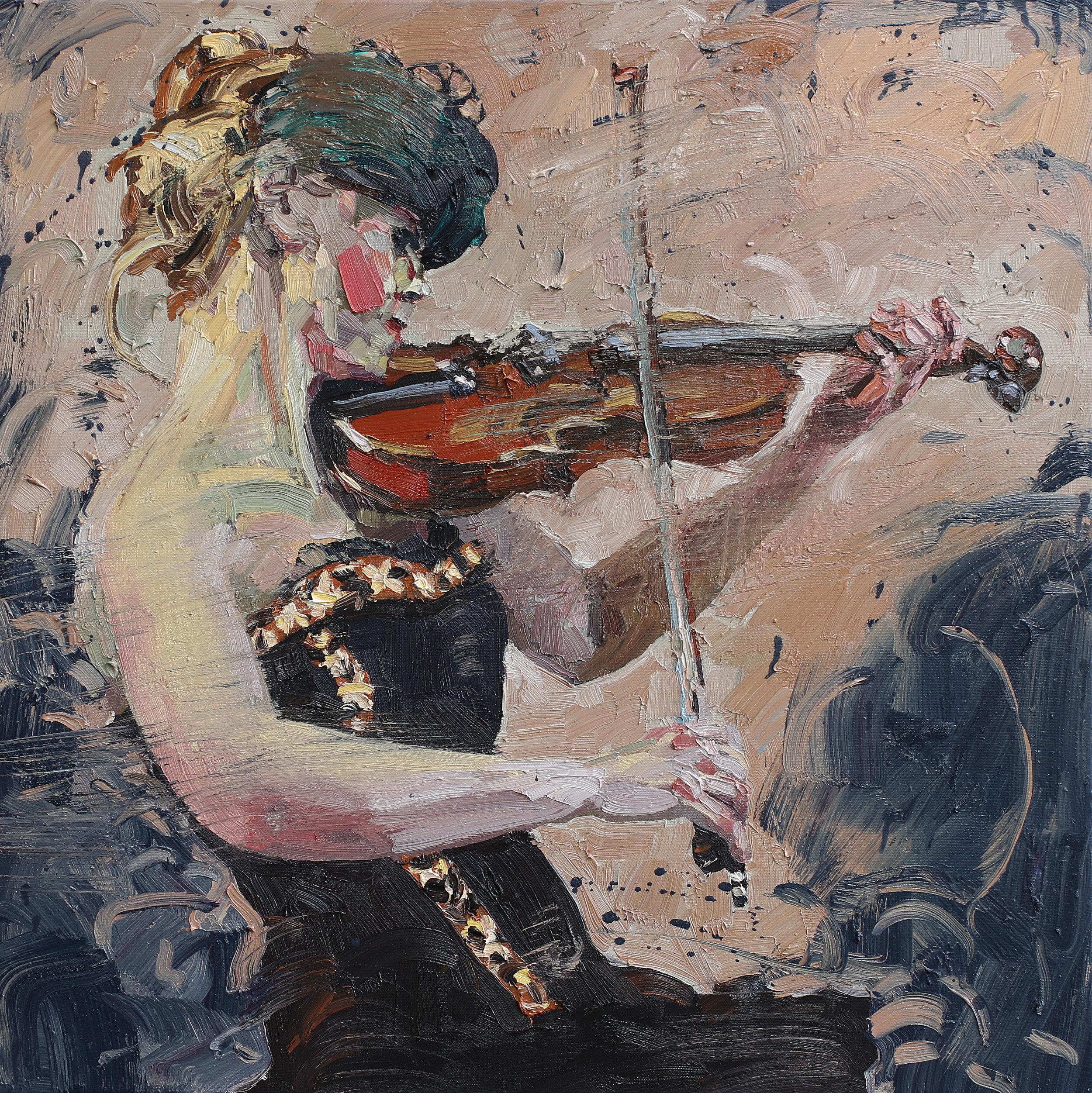 Fiolinist I   Studie   70x70 cm   Olje på lerret   Privat eie