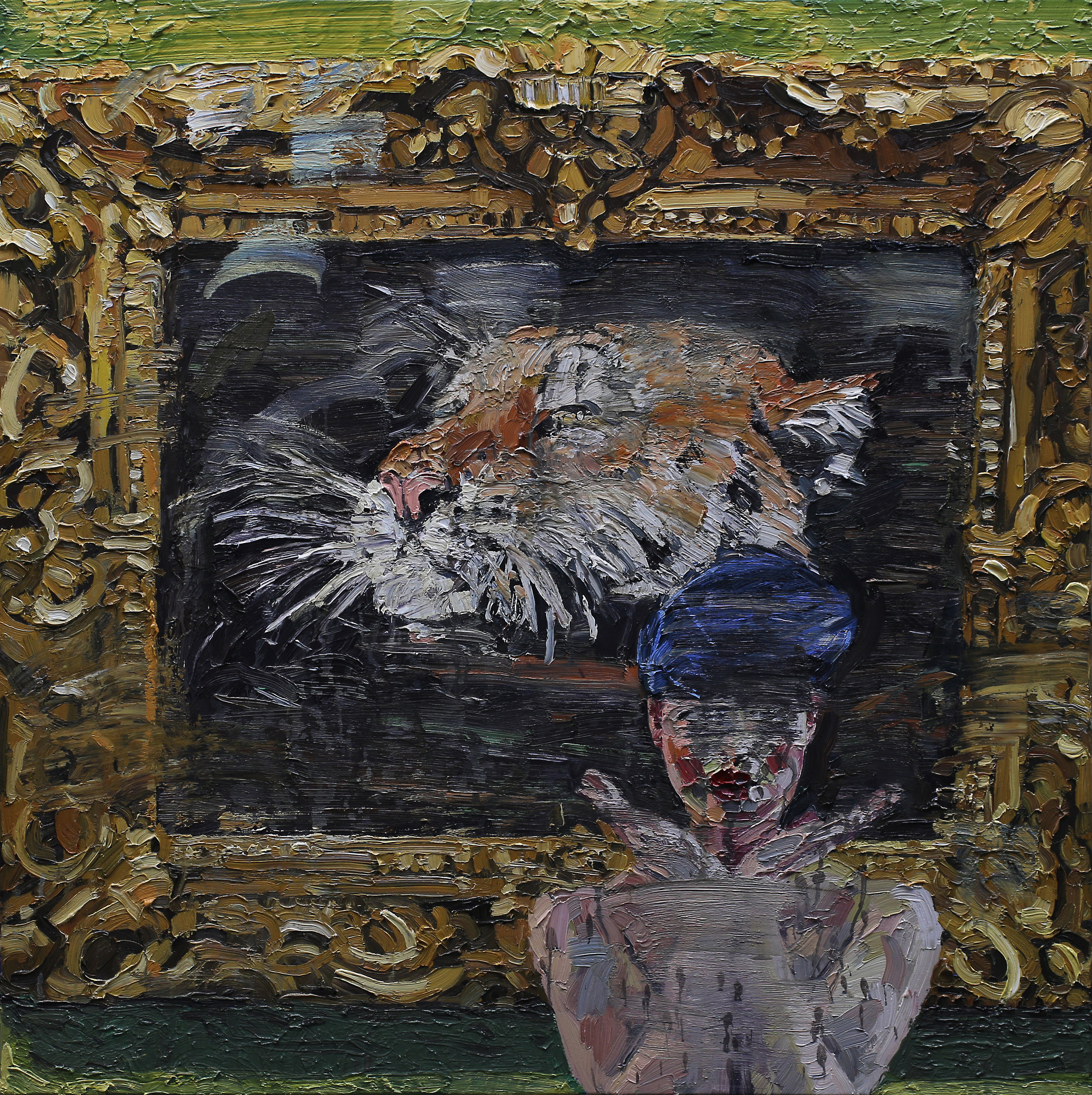 Naturlig teater II   100x100 cm   Olje på lerret   Privat eie