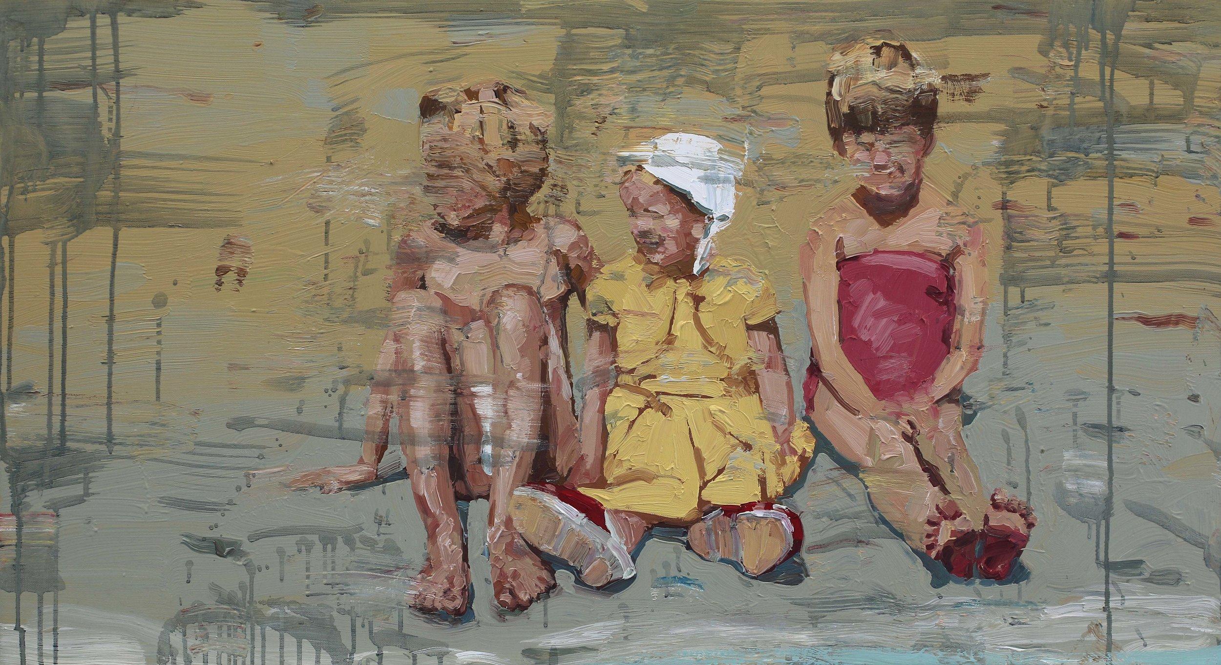 På stranden med store søsken – 55 x 100 cm – Privat eie
