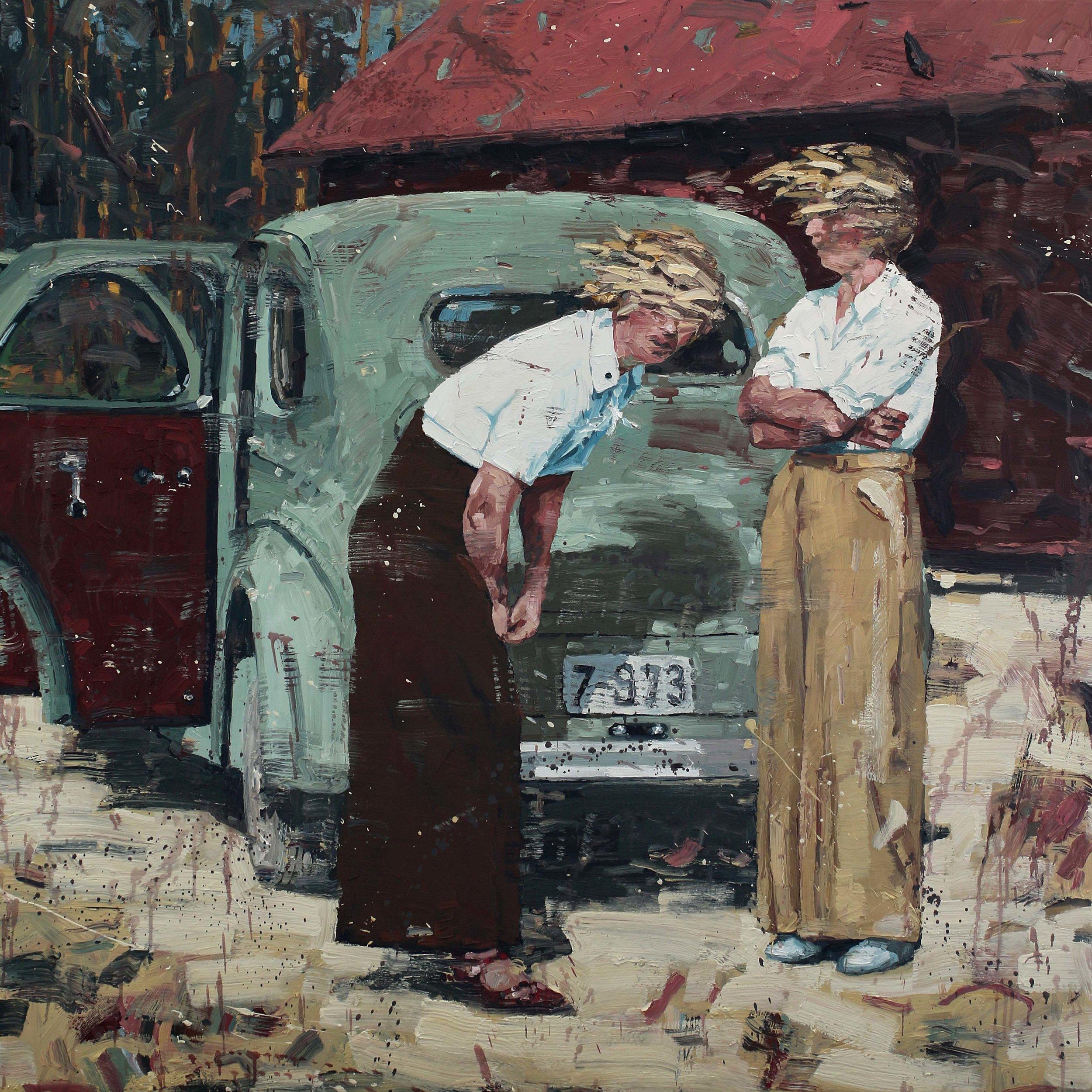 Jenter med vind i håret – 150x150 cm – Eggoljetempera på lerret – Privat eie
