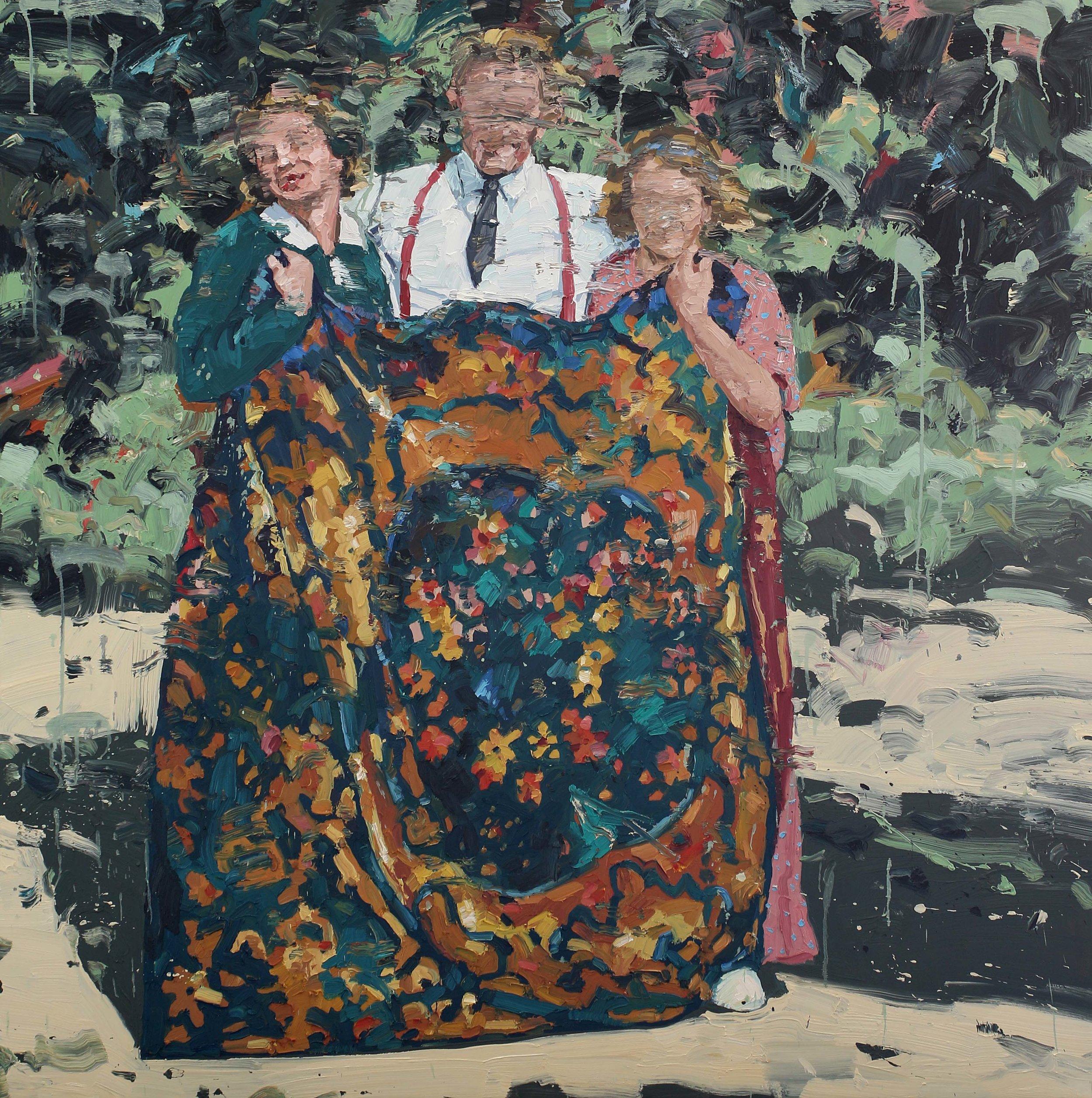 Mann med to damer og et teppe – 150x150 cm – Eggoljetempera på lerret.  Galleri Grette