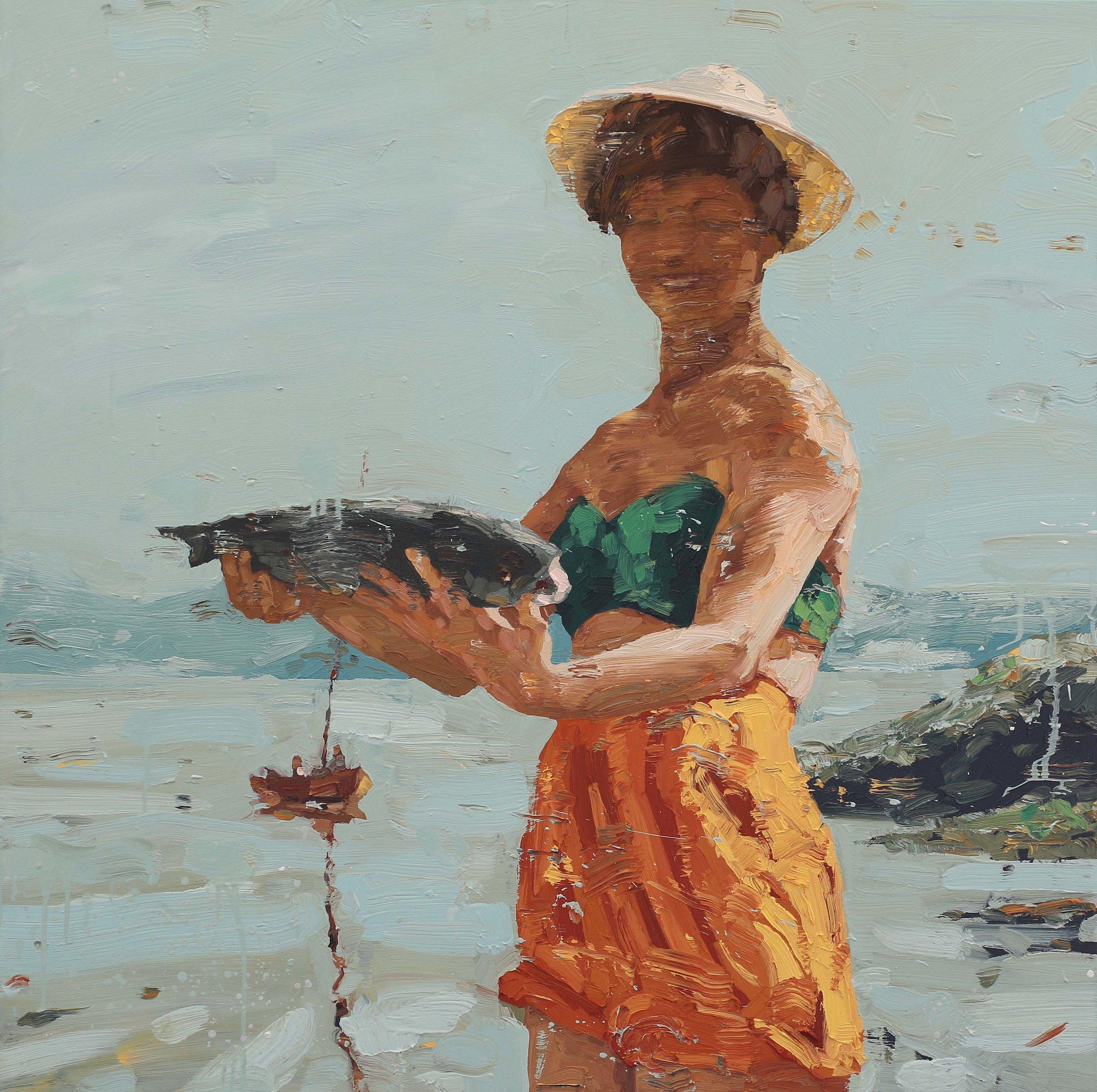 Kvinne med laks – 100x100 cm – Eggoljetempera på lerret – Privat eie