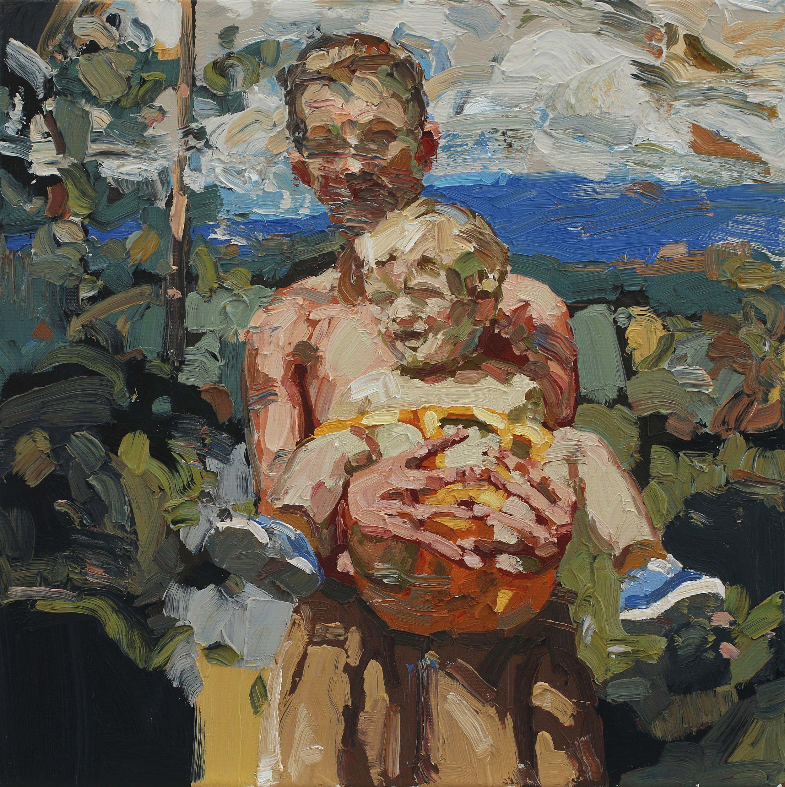Storebror bærer – 55x55 cm – Eggoljetempera på lerret – Galleri A