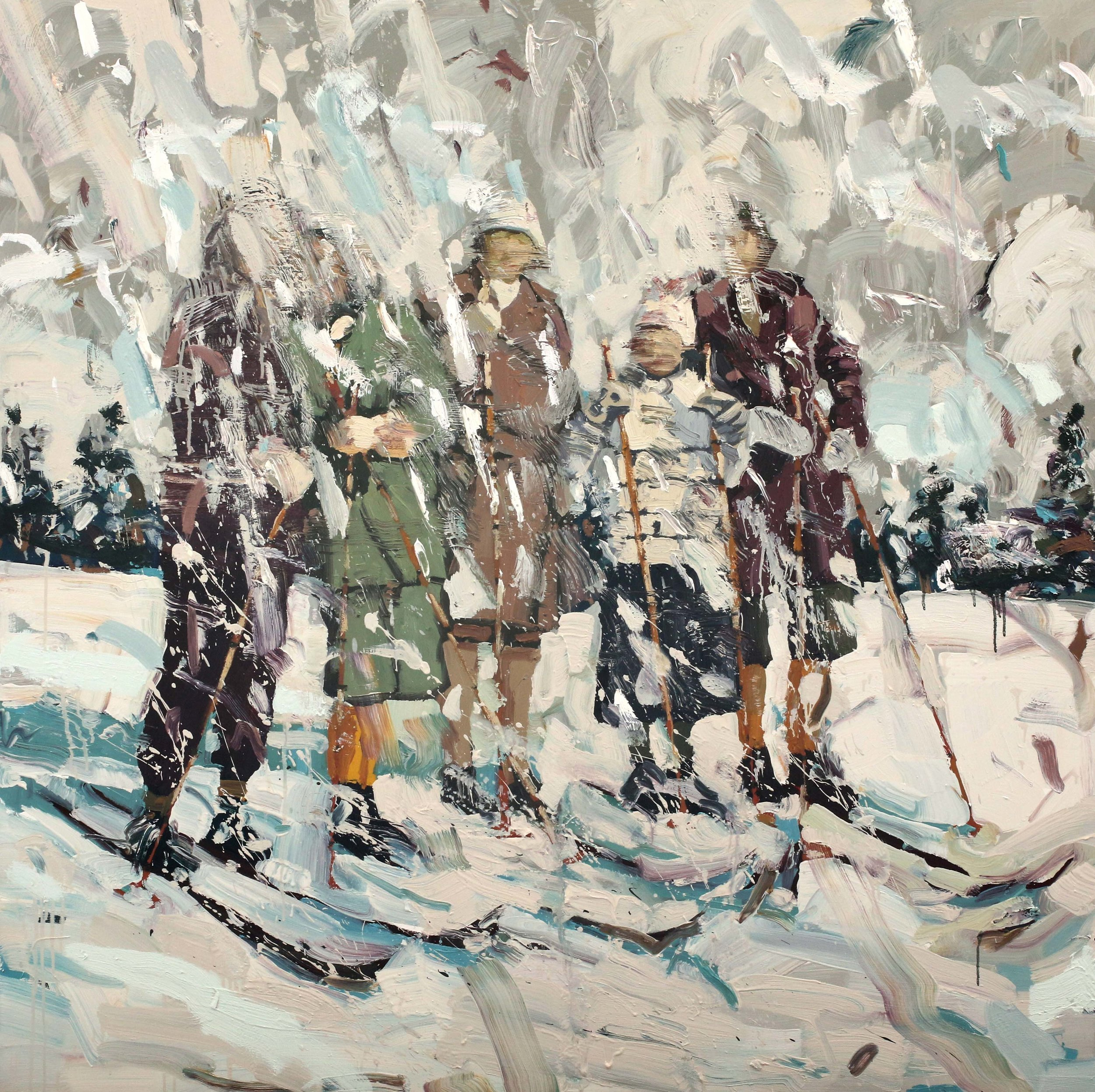 God gammeldags vinter – 150x150 cm – Eggoljetempera på lerret – Privat eie