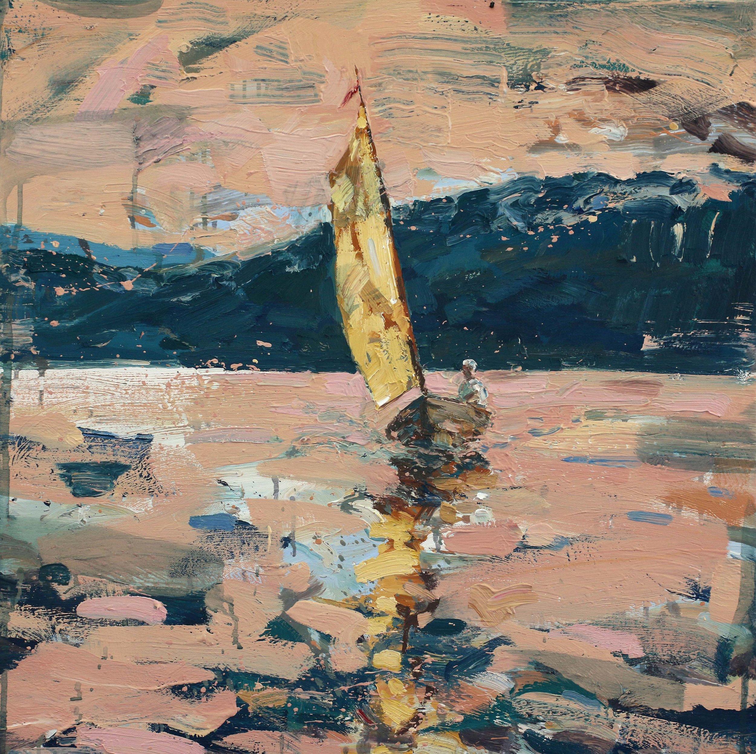 Frihetens øyeblikk – 70x70 cm – Eggoljetempera på lerret –  Galleriet ved havet