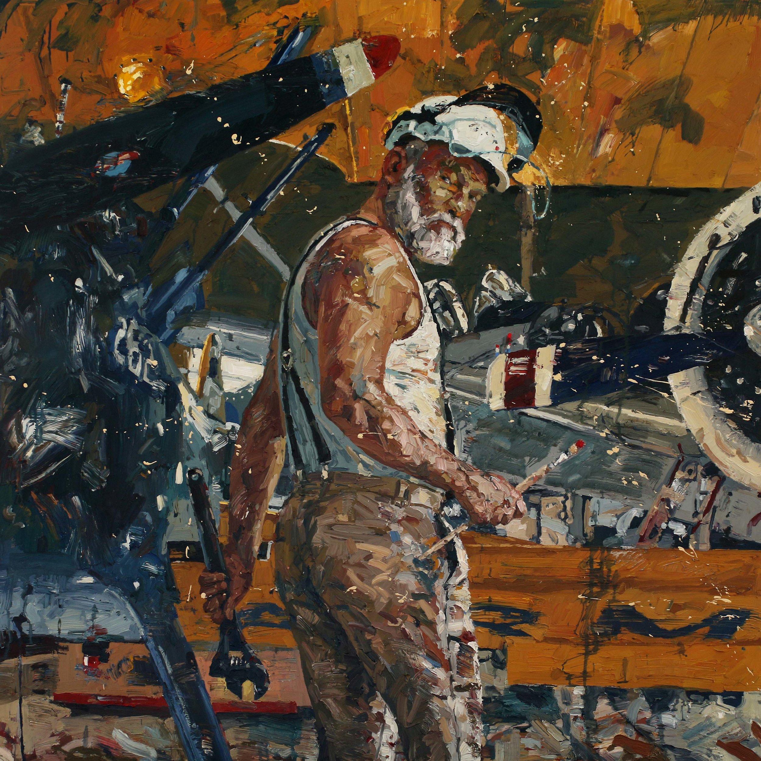 Selvportrett med pensel og skiftenøkkel – 150x150 cm. Eggoljetempera på lerret. – Vises i Galleri A, Oslo, fra 5. september