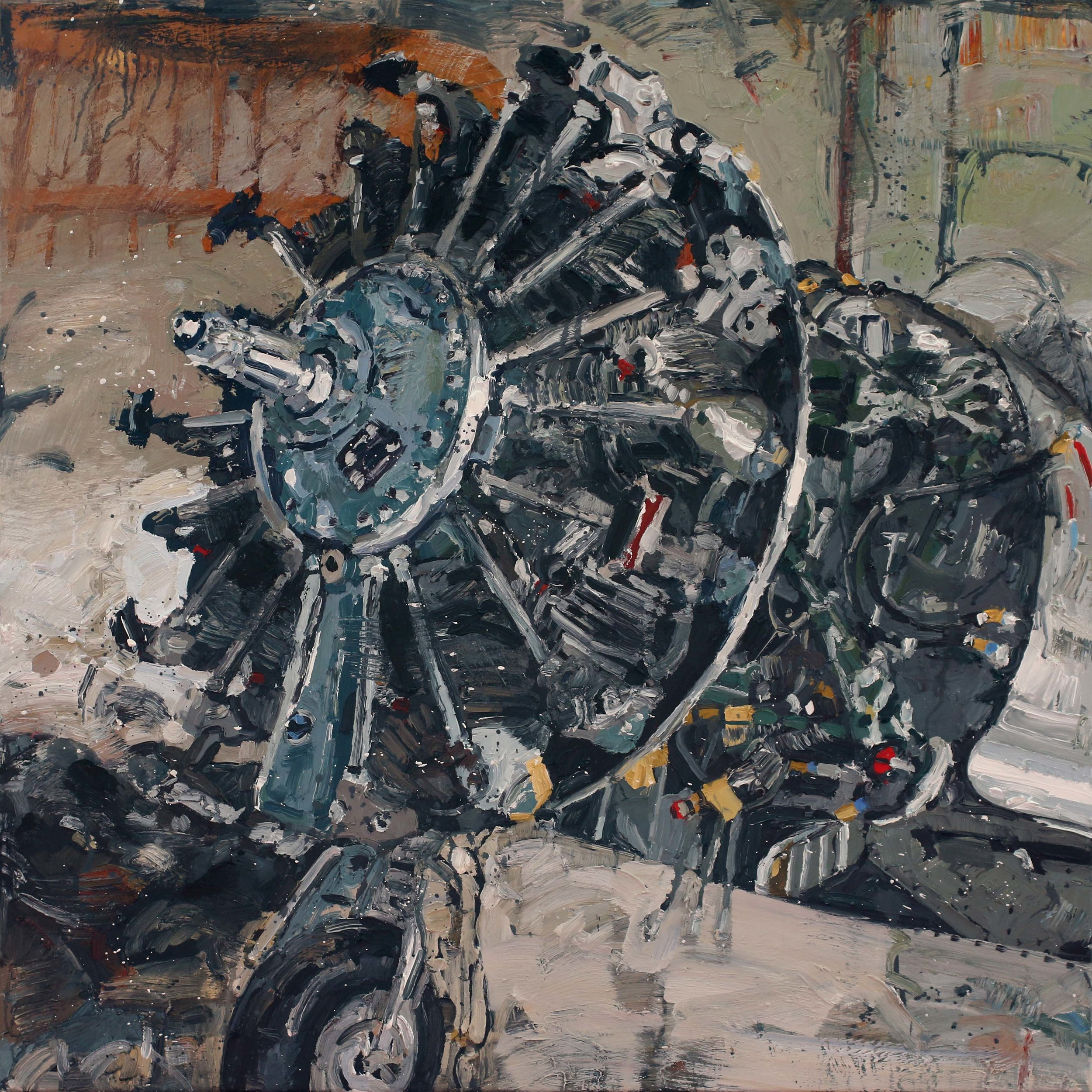 Stjernemotor II – 100x100 cm – Eggolje på lerret – Vises i Galleri A, Oslo fra 5. september
