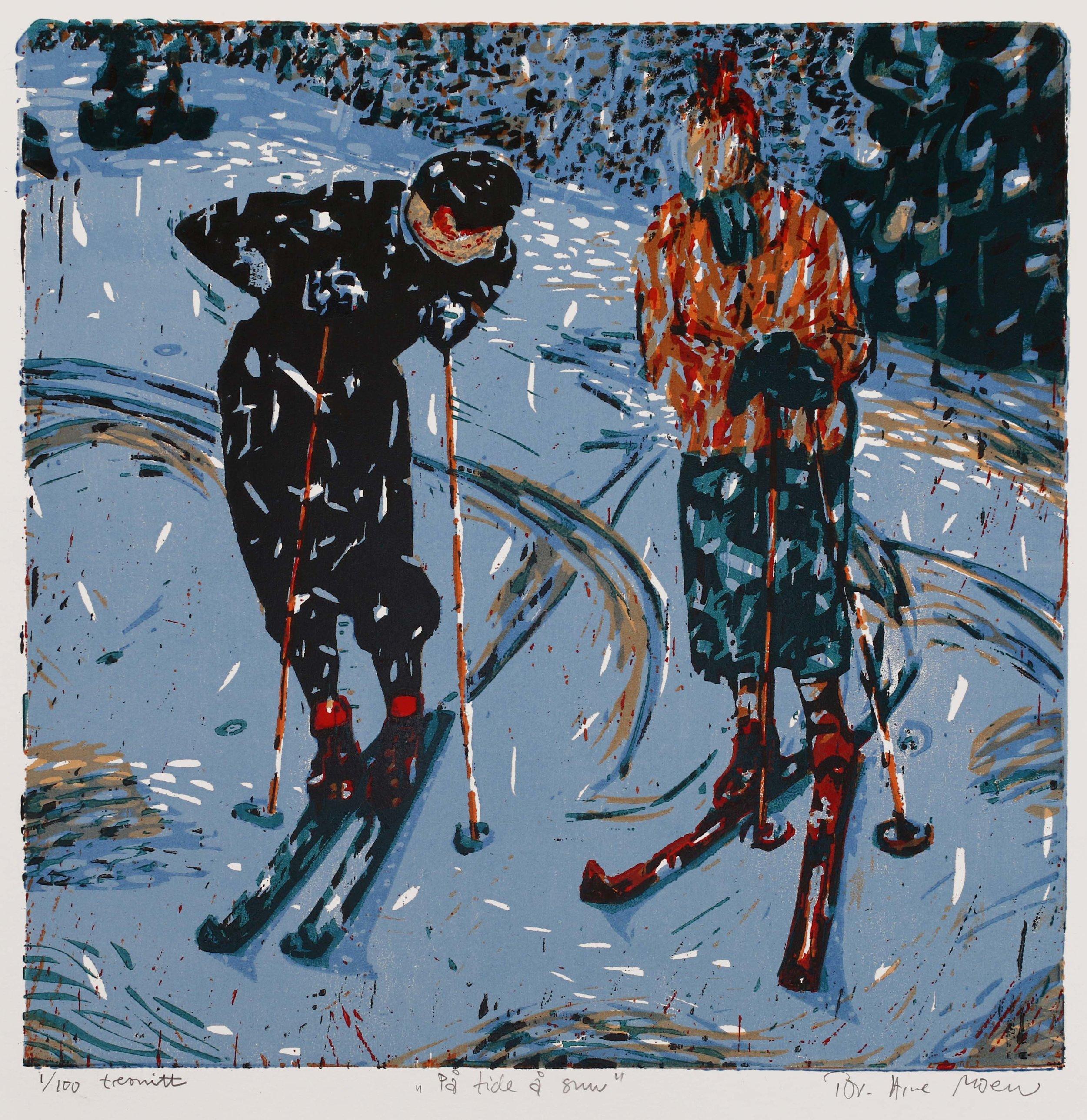 På tide å snu | kr. 4 000,- | 52x52 cm | Fargetresnitt med syv plater | 2019 | 100 eks.