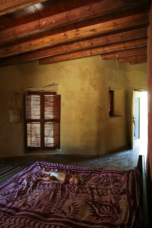 Wood and mud built bedroom