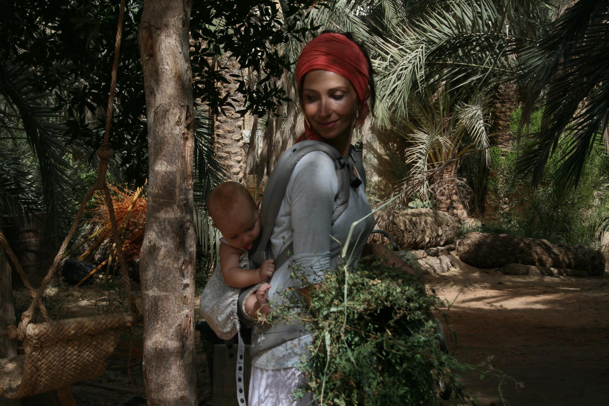 Child-wearing in the desert garden.