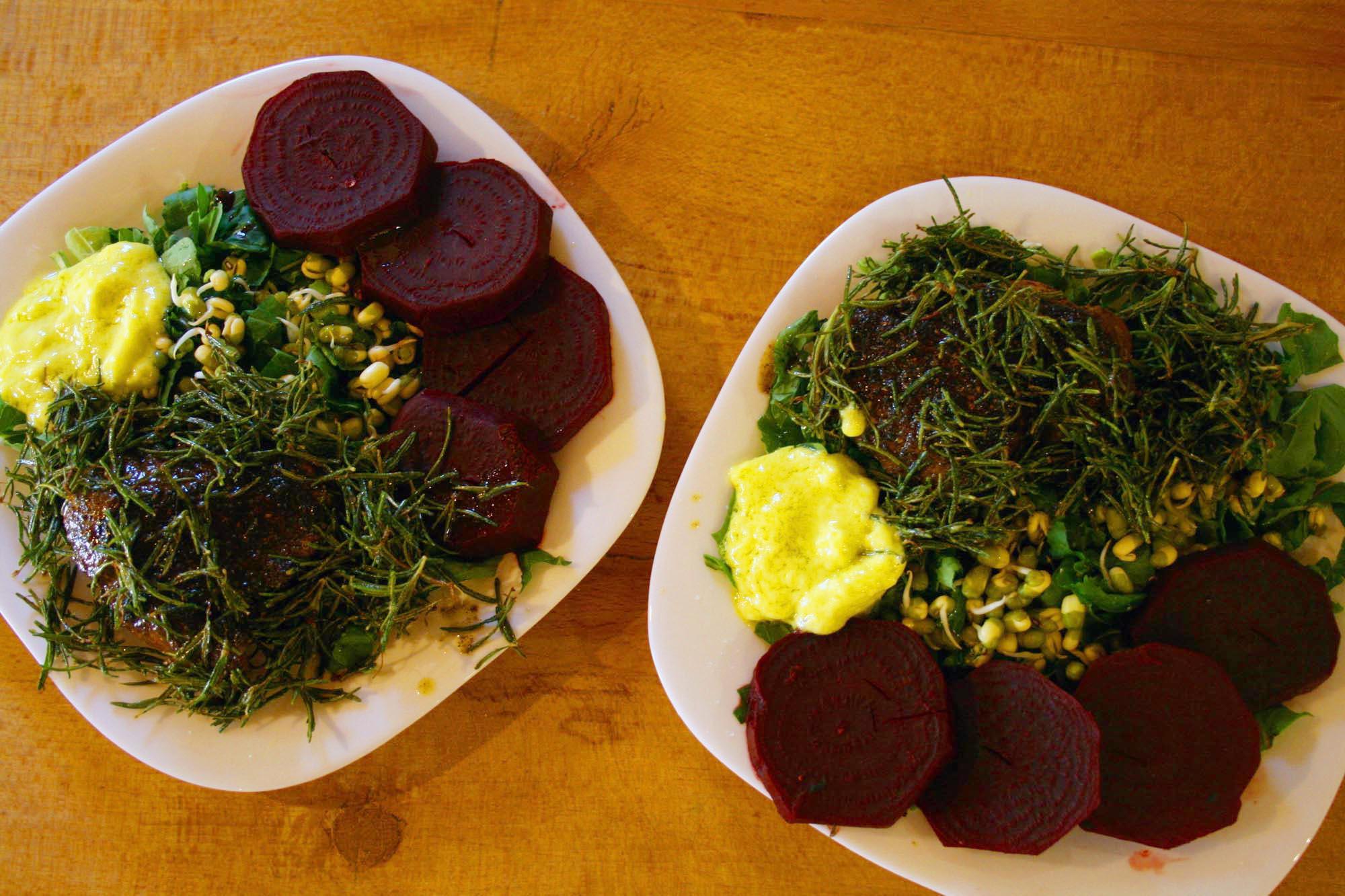 Organic steak and rosemary