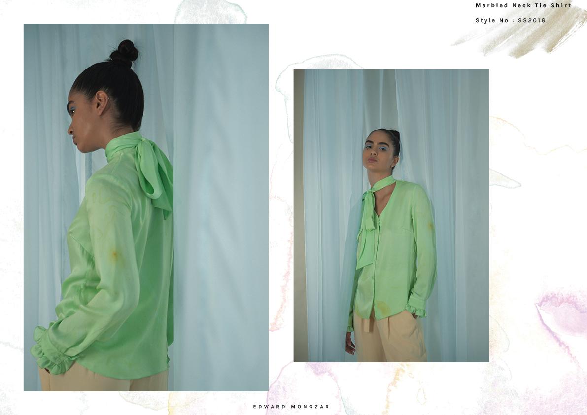 Hand Marbled green shirt marbling Edward Mongzar.jpg