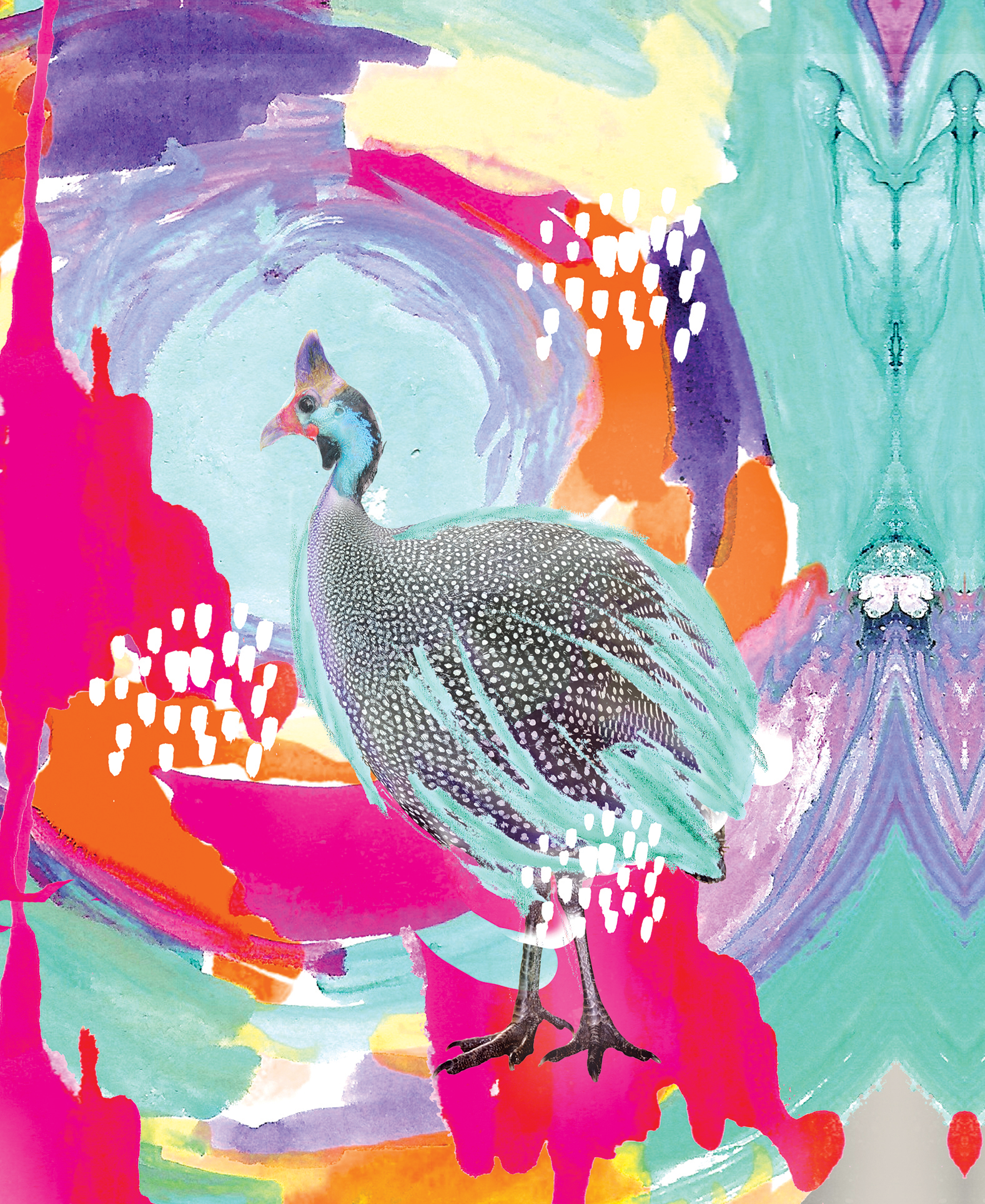 OPTIMISTIC GUINEA FOWL    The name Kangarui combines the khanga—the most classic East African textile—and Rui's name. But kanga is also the Swahili word for the guinea fowl, the white-dotted, blue-faced birds that roam in the Kenyan wild. This design, and the beautiful bird itself, embodies the rich spirit of Kangarui: multi-cultural, positive, and energetic.