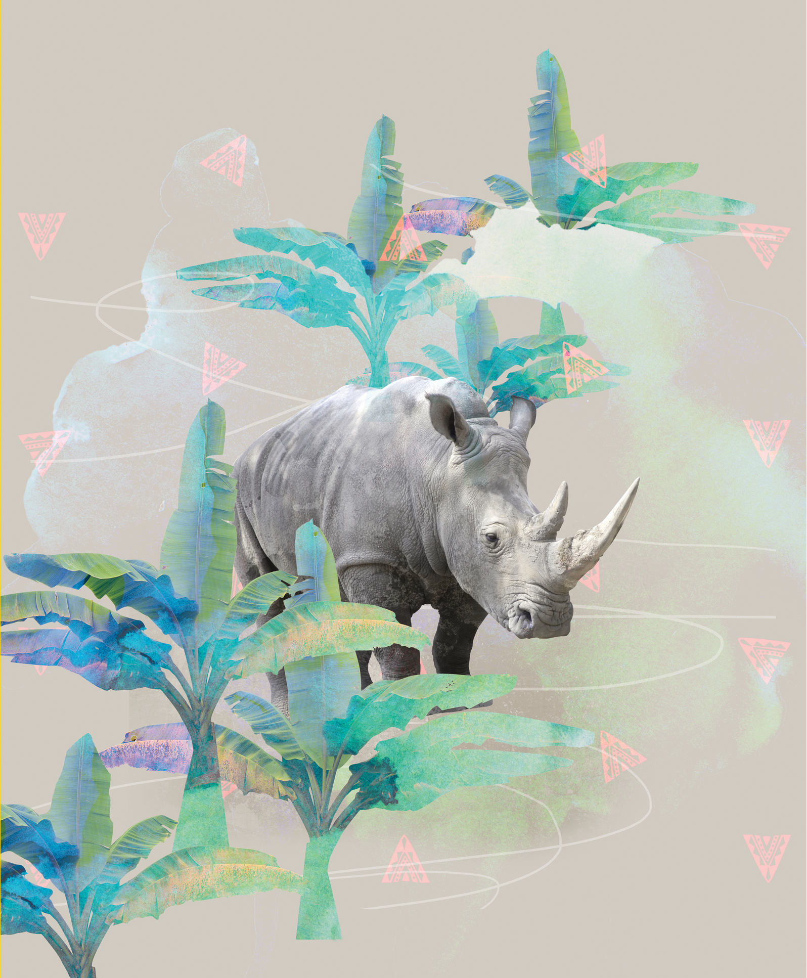 """HOLIDAY RHINO    Remember when dinosaurs were all the rage? Stoic, grand, majestic, these creatures captured many young imaginations, and Rui was no exception. Drawing on the sensitivity and gravitas of dinosaurs that so easily enamored a generation, Rui challenged herself to recreate this in a modern-day animal. Rhinos are the perfect contemporary """"dinosaur!"""" This design is the resulting visual daydream: what would it be like to find a rhino traipsing in a tropical jungle?"""