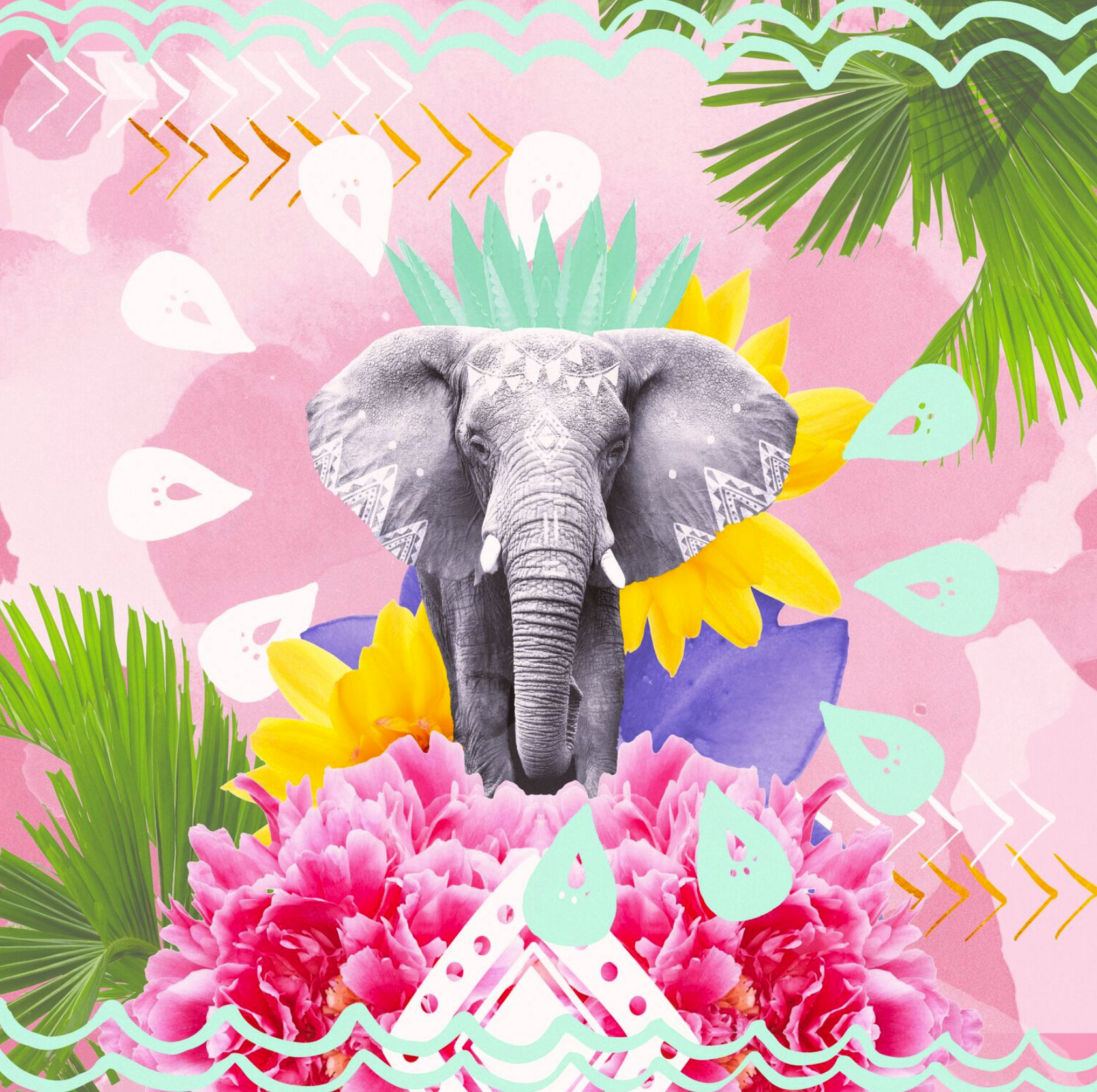 PROUD TEMBO    We all know that elephants are powerful and majestic, but in this design, Rui plays with the cheerful, jestful sides of these Kings of the Savannah with a whimsical starburst of flora and symbols. Through visually dynamic elements, she considers the balance, even mutual respect, between this natural king and his kingdom.