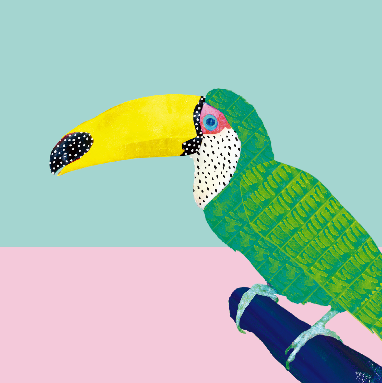 CHILLING TOUCAN    While we don't see toucans in Africa, they are irresistibly interesting birds. Rui could not help but to capture their bizarre, bold features, using their large beaks and beautiful plumage as a canvas to experiment with interesting surface textures. Charming and sweet, this print will no doubt put you in a cheerful mood!