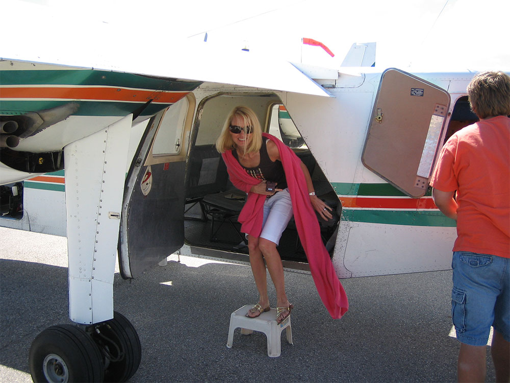 Disembarking (and feeling woozy) after a too-small-for-me prop-plane flight to Beaver Island, Michigan