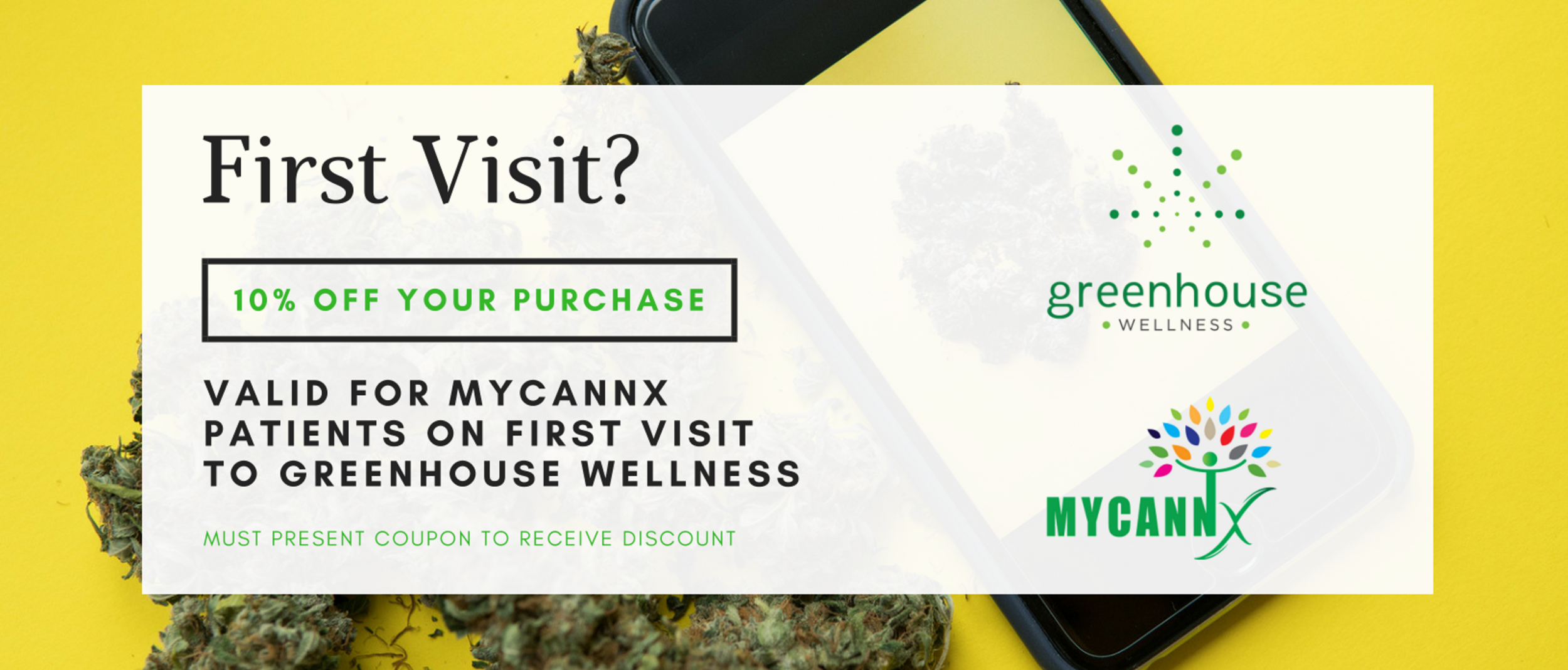 Simply click to print the above coupon and bring it with you to  Greenhouse Wellness . We look forward to seeing you soon!