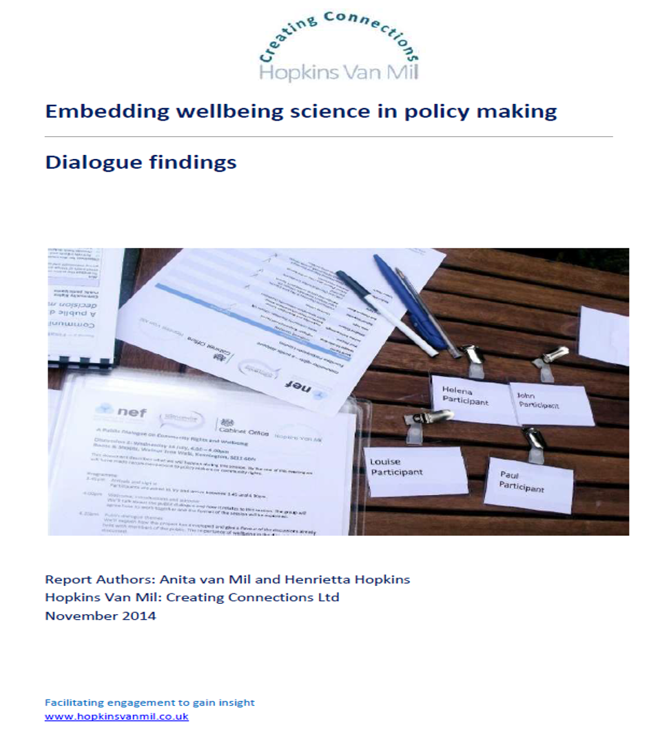 Wellbeing in public policy making - A Sciencewise public dialogue for the New Economics Foundation and the Cabinet Office