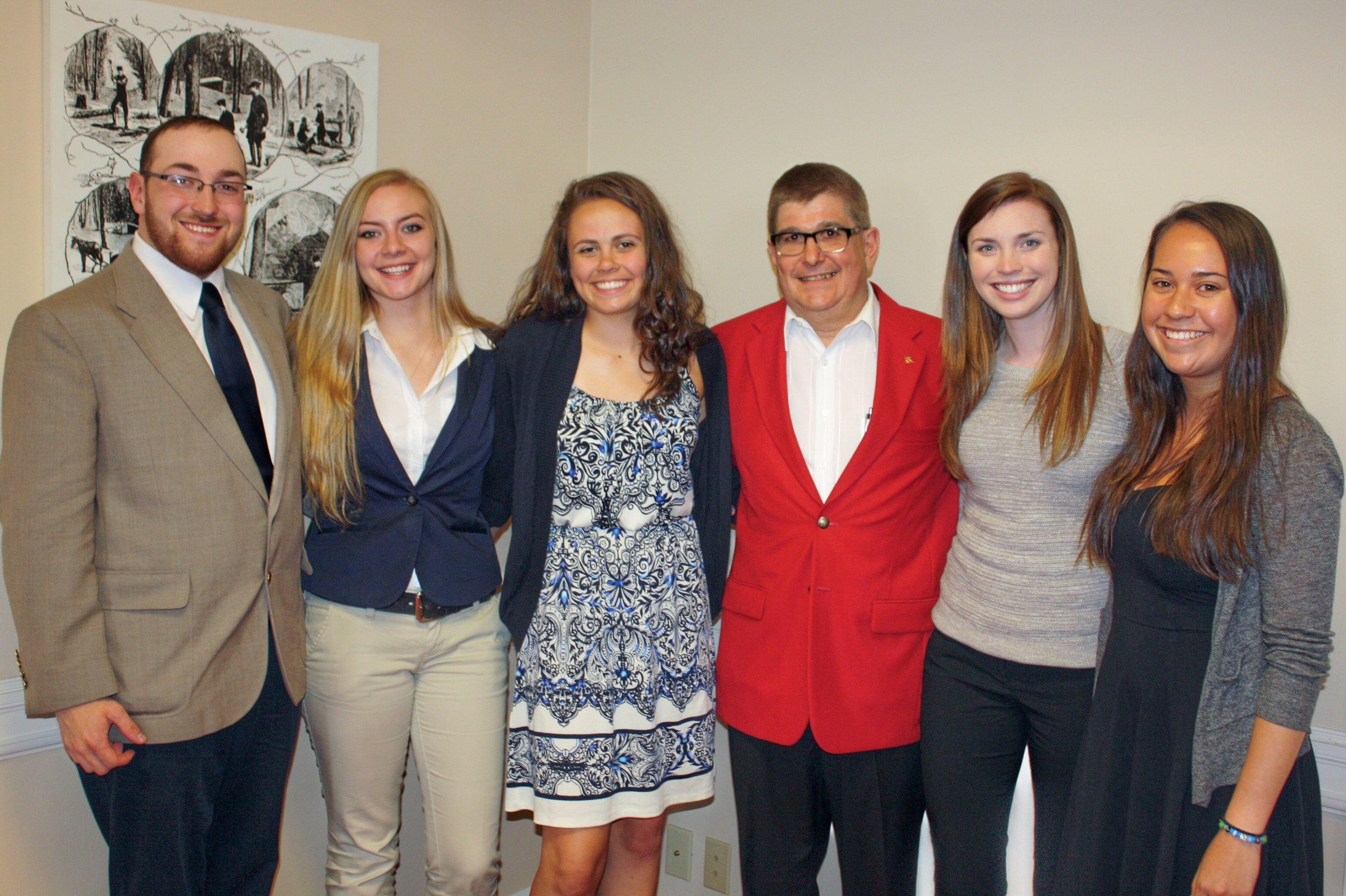 Past Recipients L-R Christopher Harloff, Ellen Vibbard, Christina Noto Rich McCaffery, Sarah Dewey and Kayla Haggerty