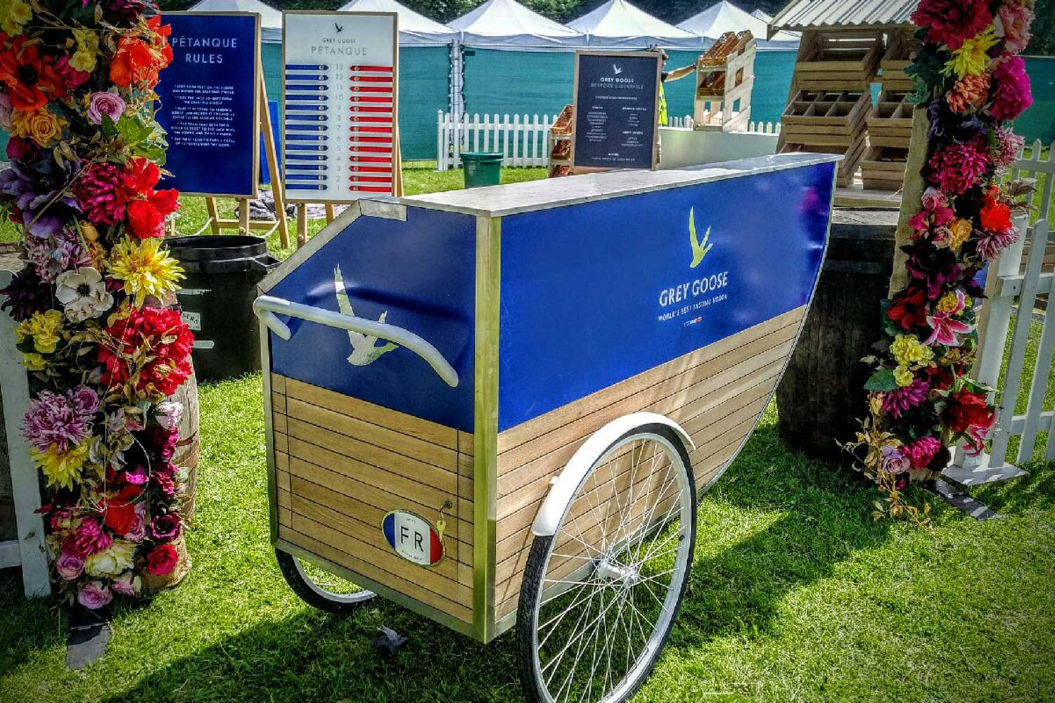 PROJECT 5  Market-stall furniture for Grey Goose. Attention to detail, so not only does it look good it had to work too.    Click here to see more.