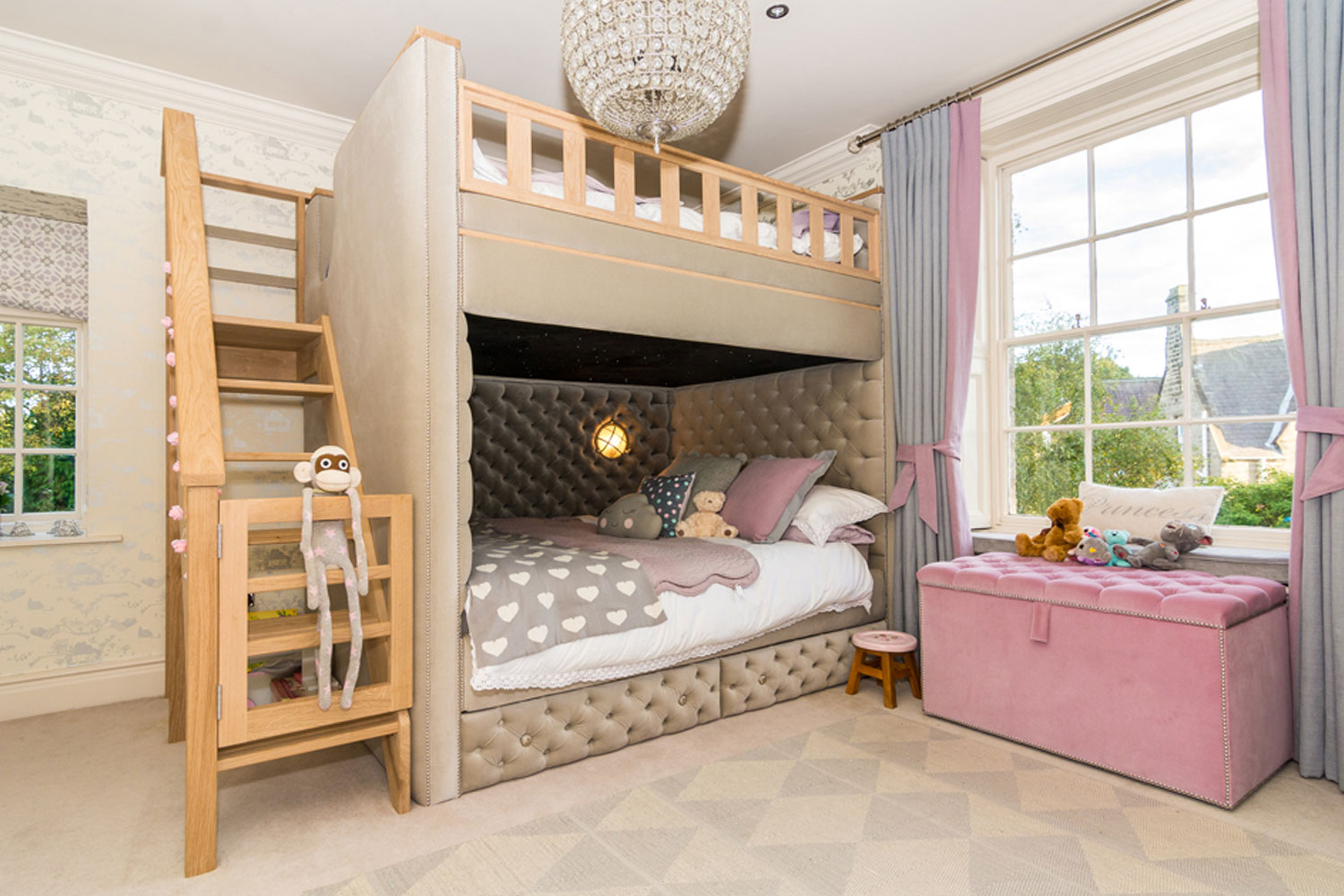 PROJECT 3  Perfect double bunk bed crafted from solid oak, with feature LED lamps, fibre optic lighting for night sky effect and a built in smart TV.    Click here to see more.