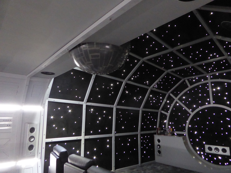 Millennium Falcon, with 'Death Star' film projector