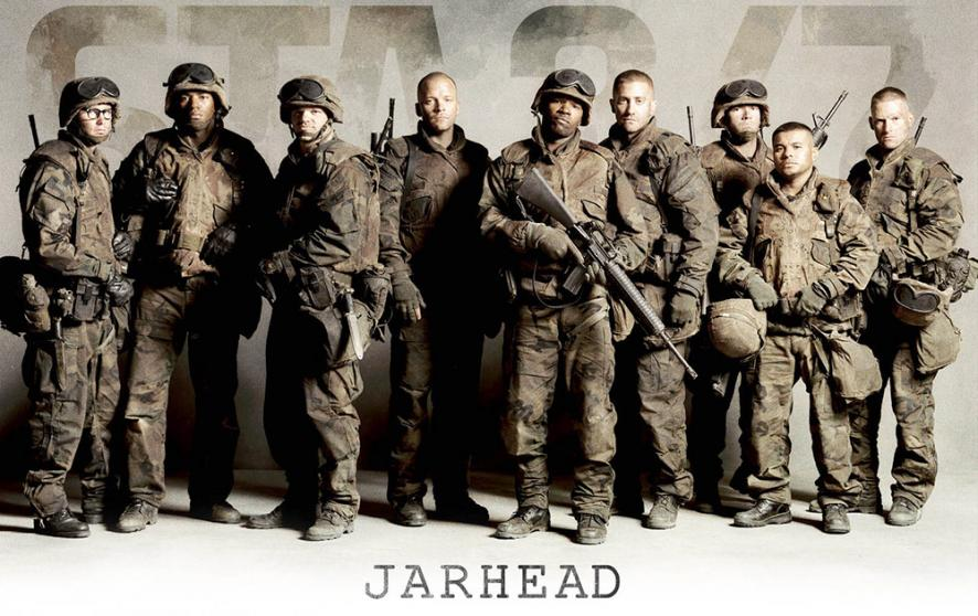 Gyllenhaal, Foxx, Saarsgard, and more in costume as  Jarhead 's scout sniper platoon.
