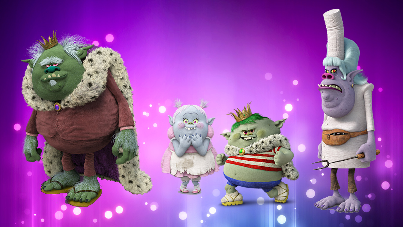 From left to right: King Gristle Sr., Bridget, Prince Gristle, and Chef - the primary cast of Bergens from  Trolls.