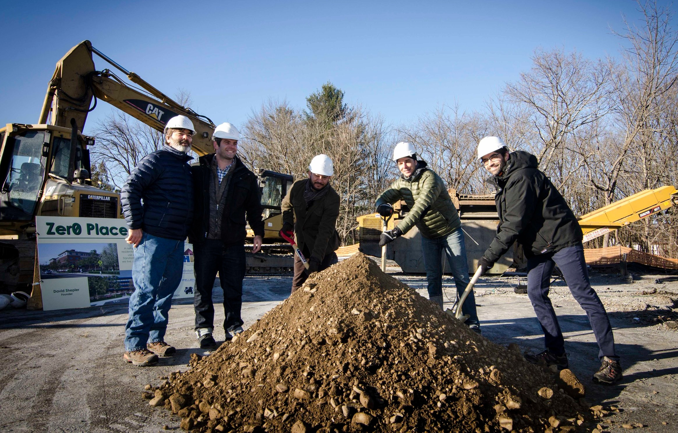 Zero Place Groundbreaking Ceremony - Anthony Aebi, Keith Libolt, Luis Martinez, Mayor Tim Rogers and David Shepler (left to right)
