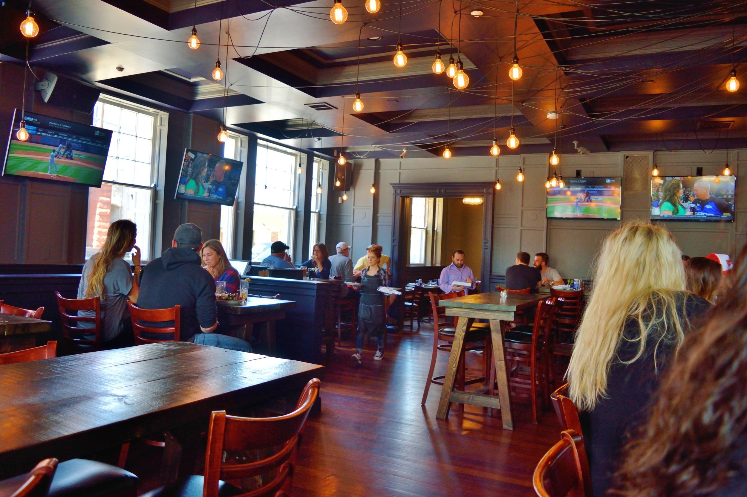 The bar dining area has a nice vibrant motif.