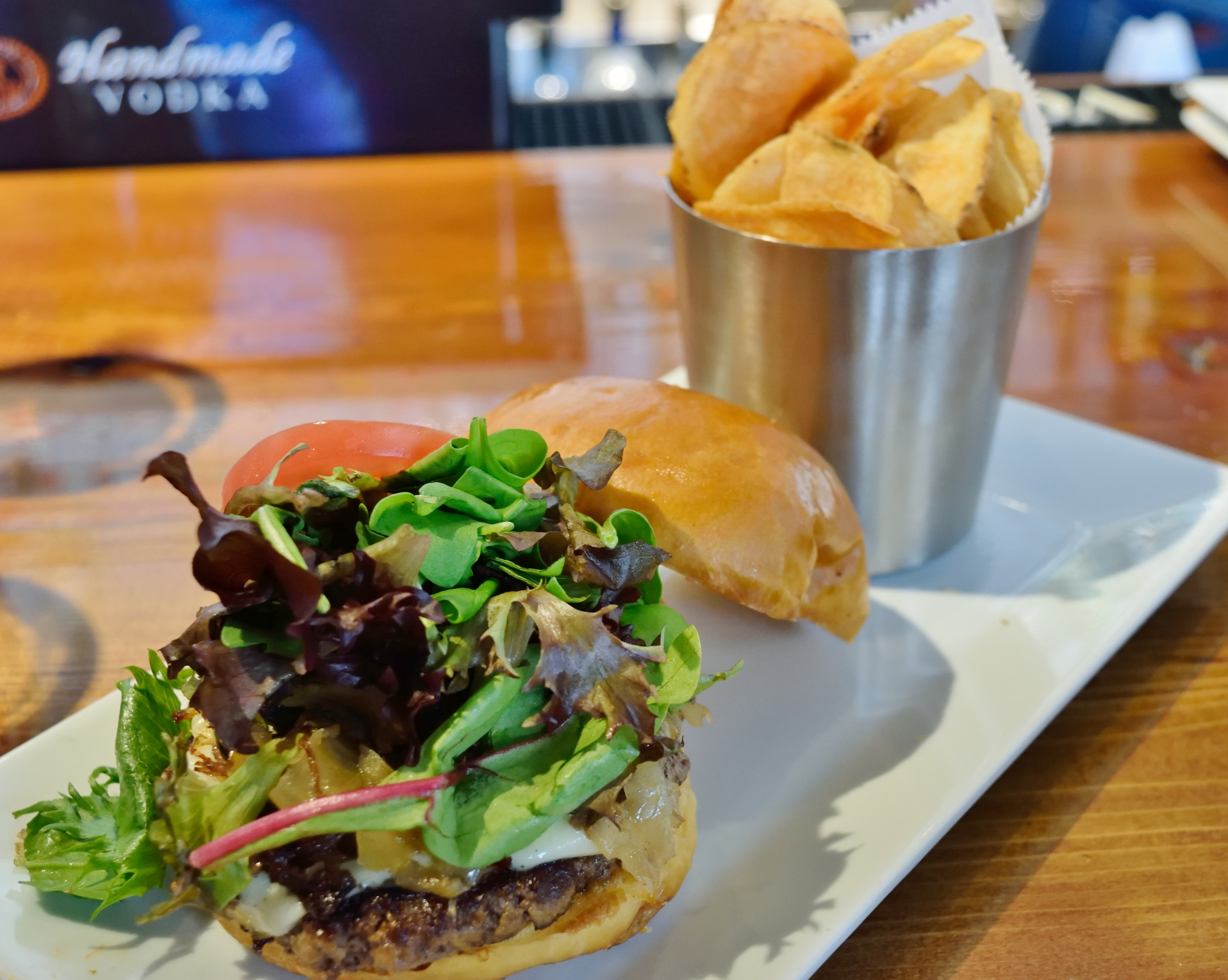 The Short Rib Gravy Burger with house chips!