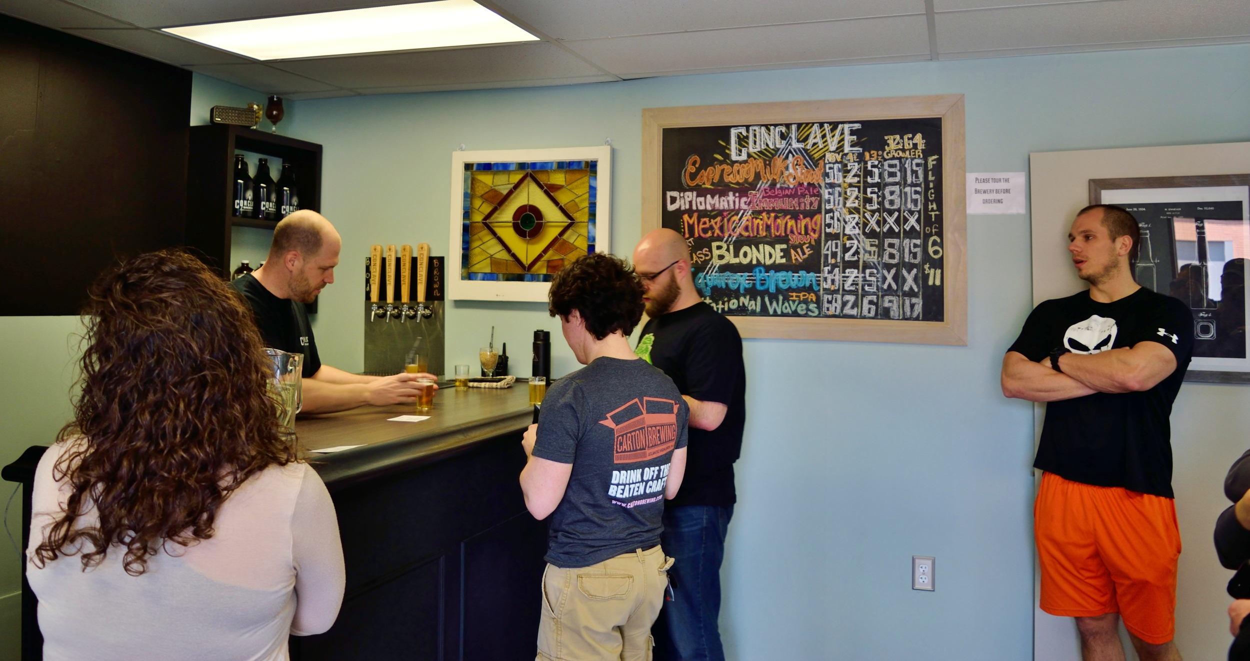The taproom is small yet intimate offering an excellent opportunity to converse with others.