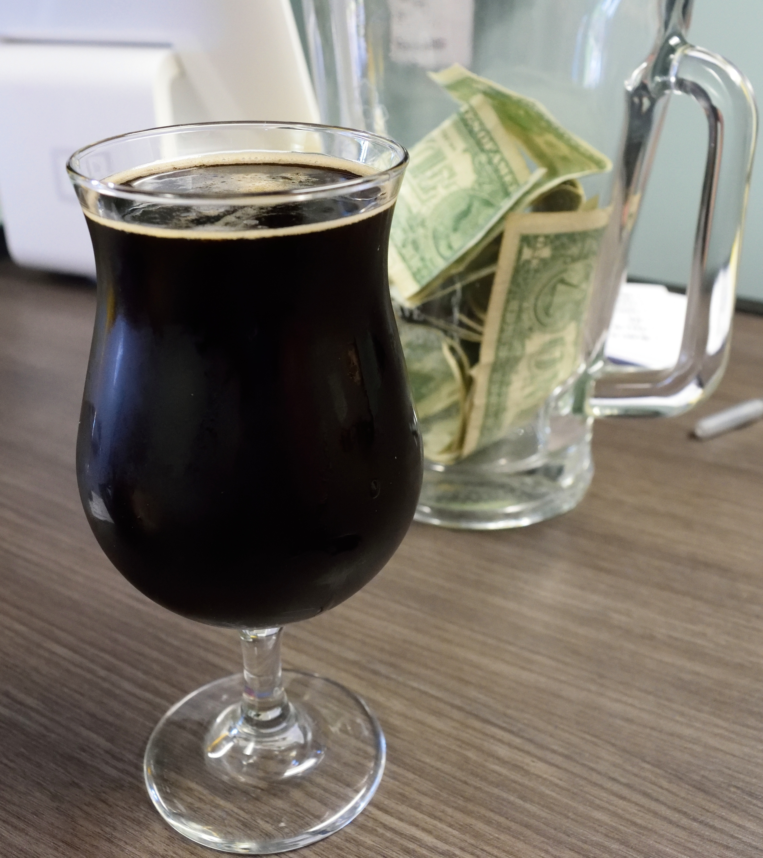 """Pictured here with a jar money - Espresso Milk Stout is just that... """"money""""."""