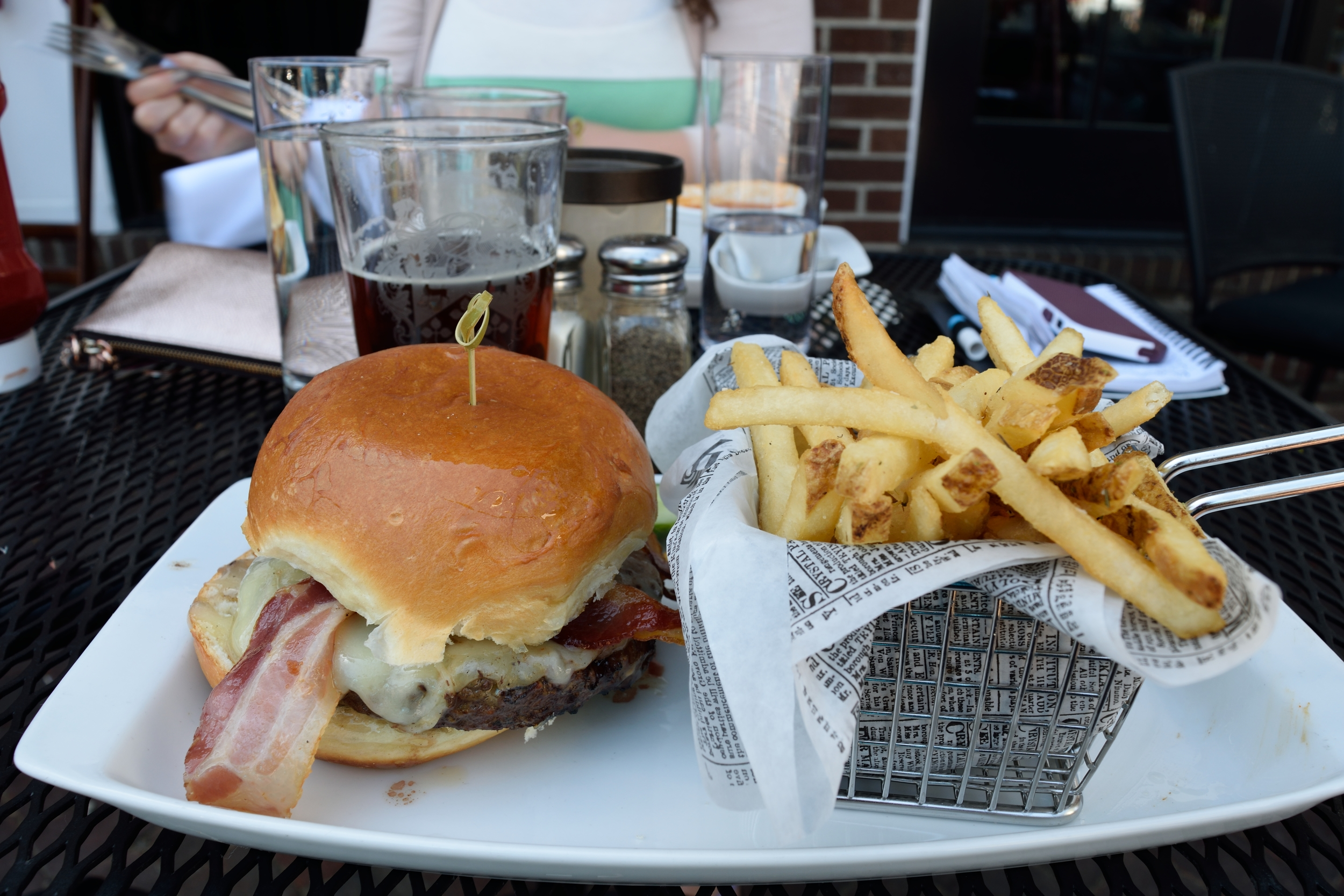 The Chi-Town burger with fries. Yes, it has bacon. Bacon!