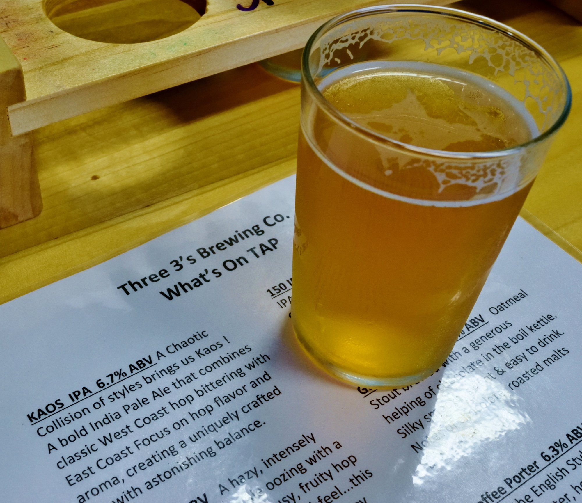 This is the real gem of the day - Kaos IPA. So good we took a growler home.