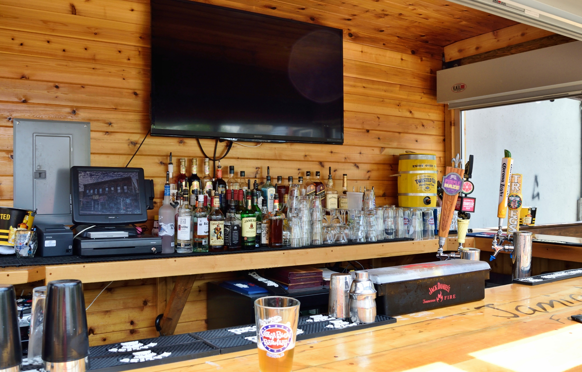Fewer taps than their inside bar, but you have access to everything even if you are outside.