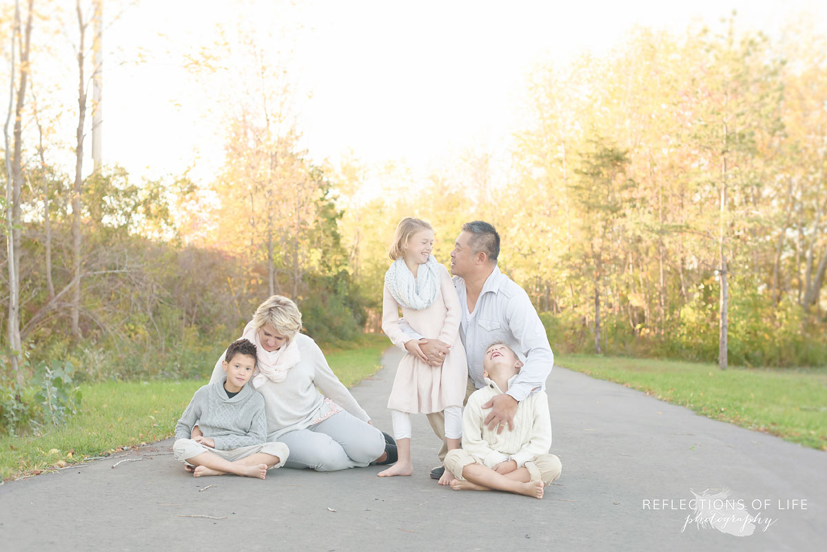Family photography at sunset in southern ontario canada