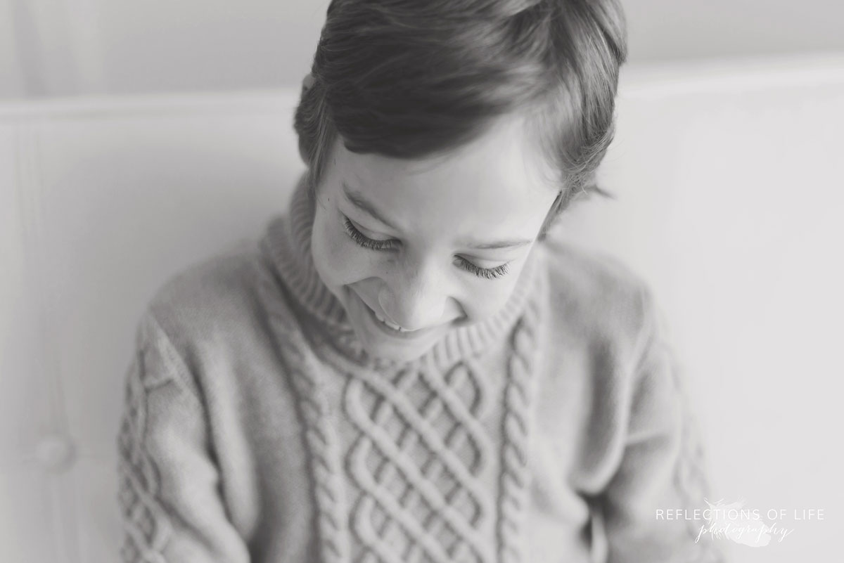 Little Boy Laughing Natural Light Studio