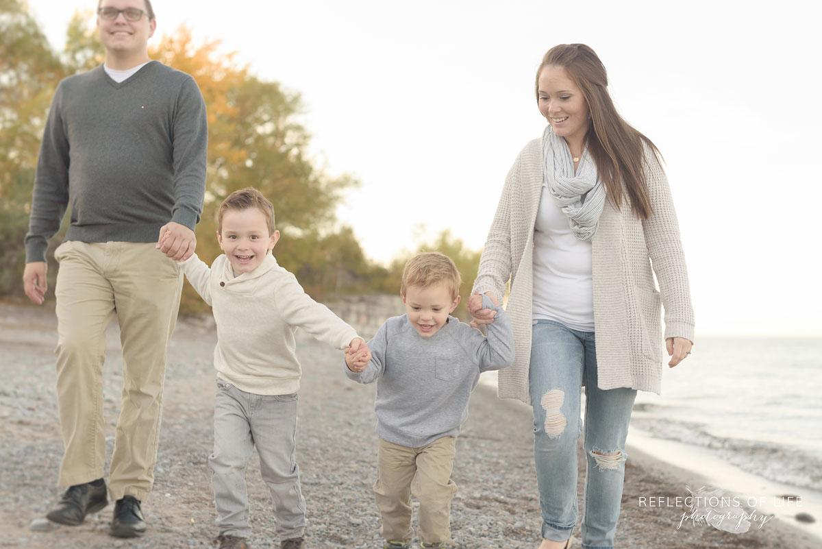 fun playful family photographs at sunset southern ontario