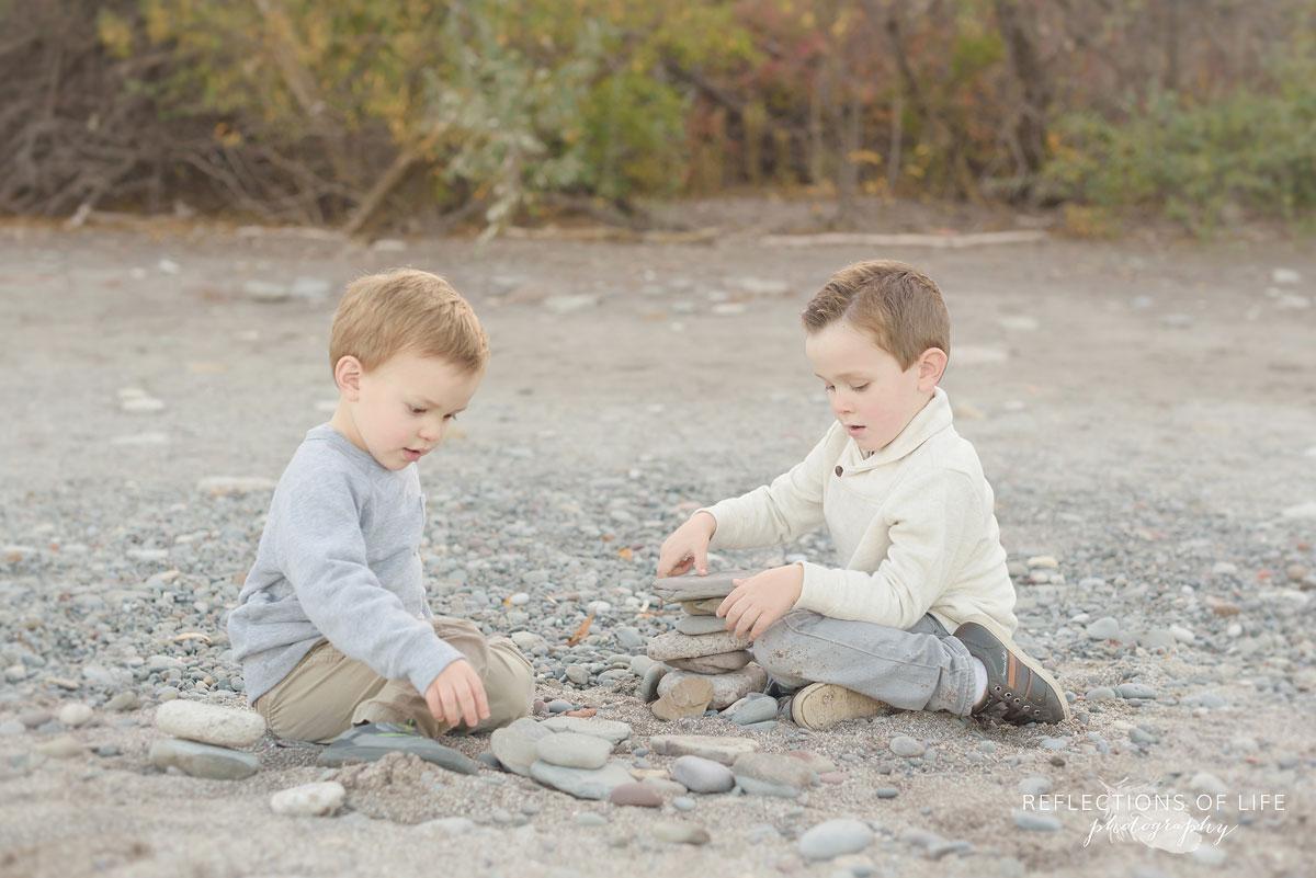 siblings on the beach in niagara ontario canada