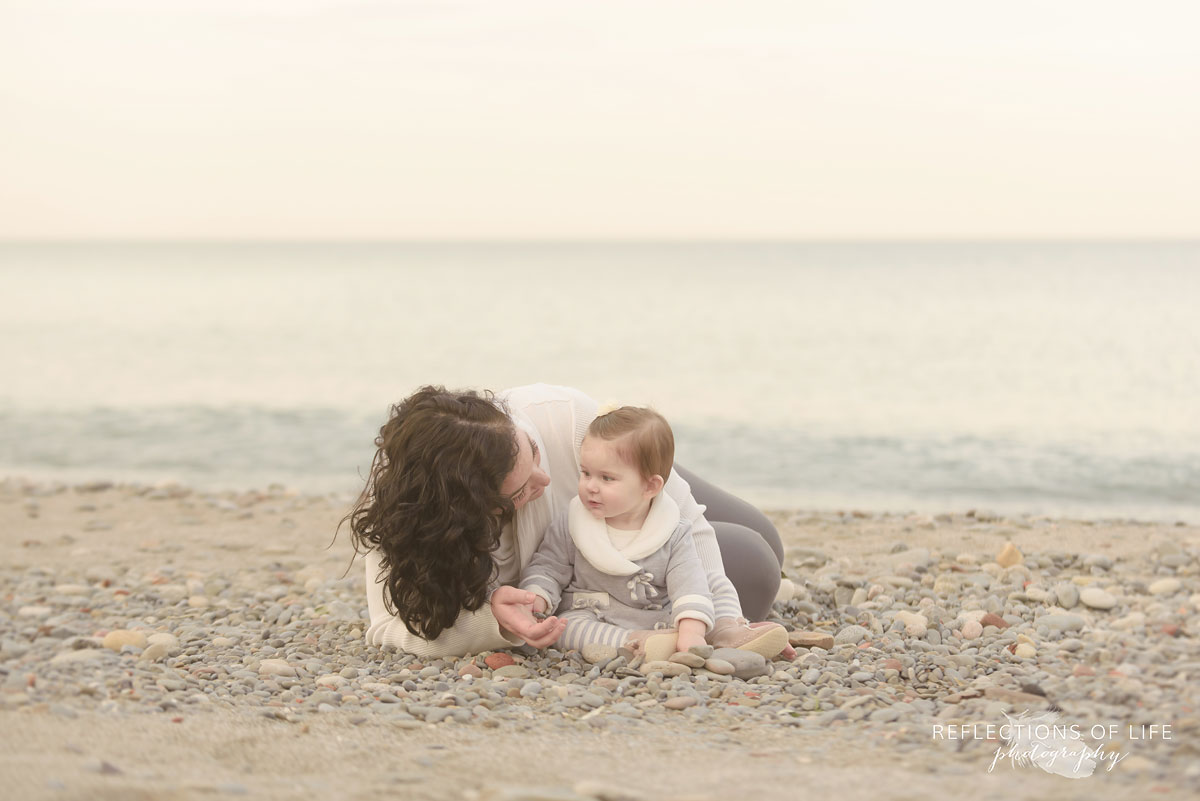 Slow and meaningful mama and baby photos on the beach Southern Ontario