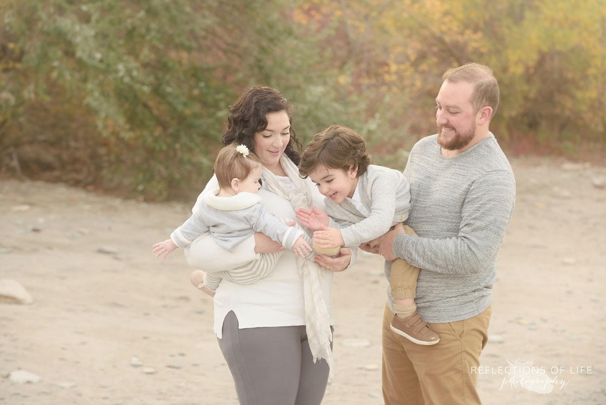 Breezy beach photography of families in Burlington Ontario Canada